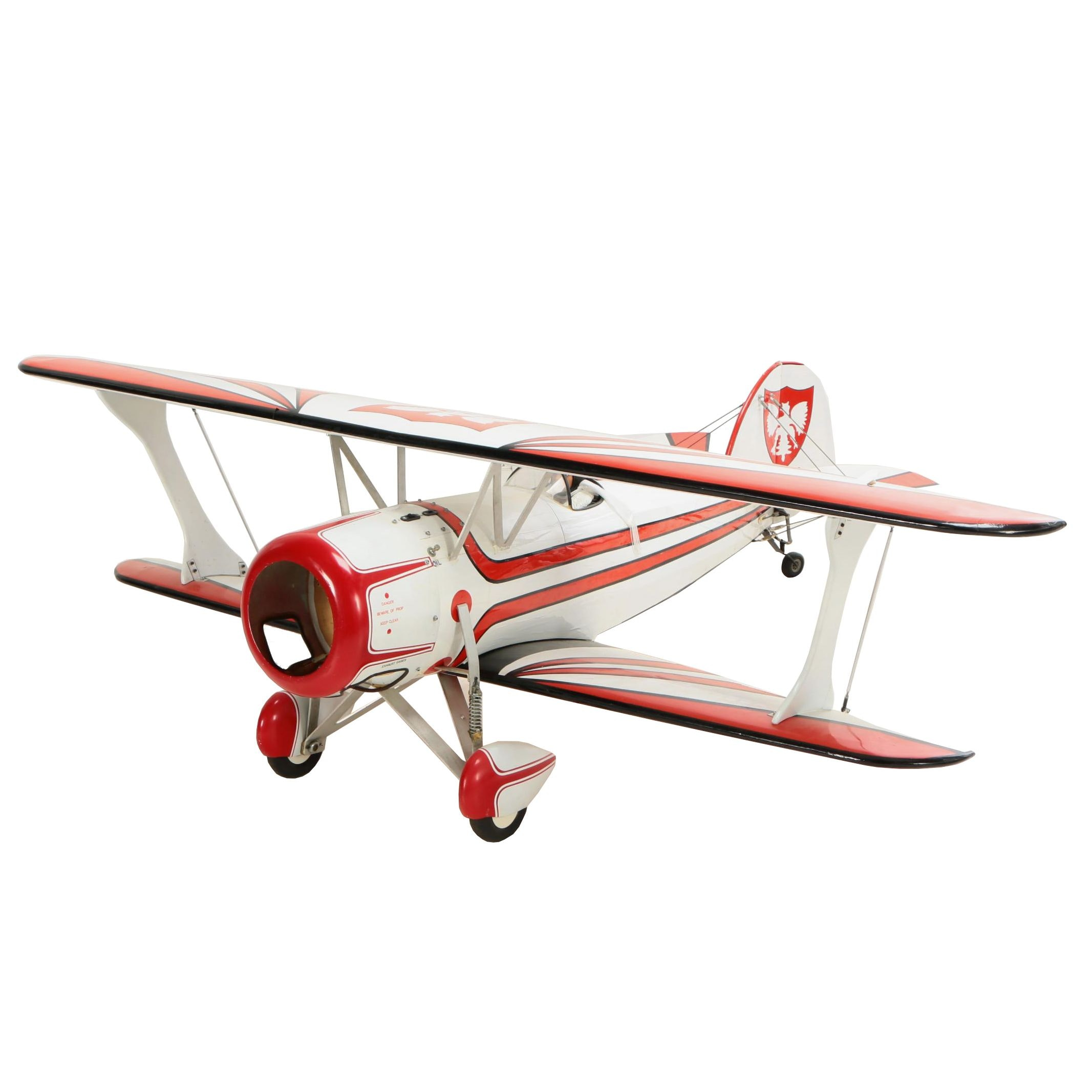 Large Radio Controlled Wood and Vinyl Biplane with Polish Heralic Eagles