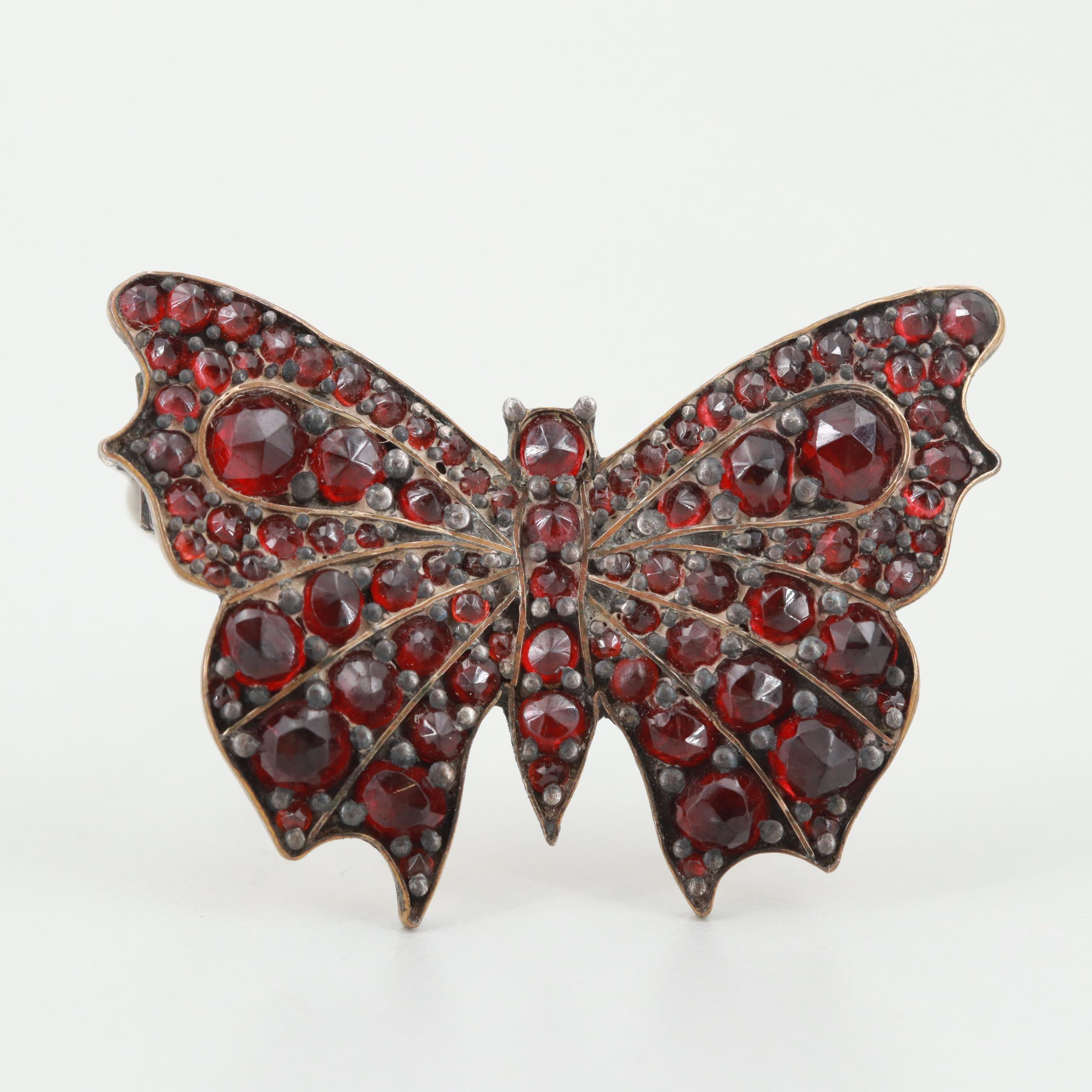 Victorian Gold Tone Garnet Butterfly Brooch
