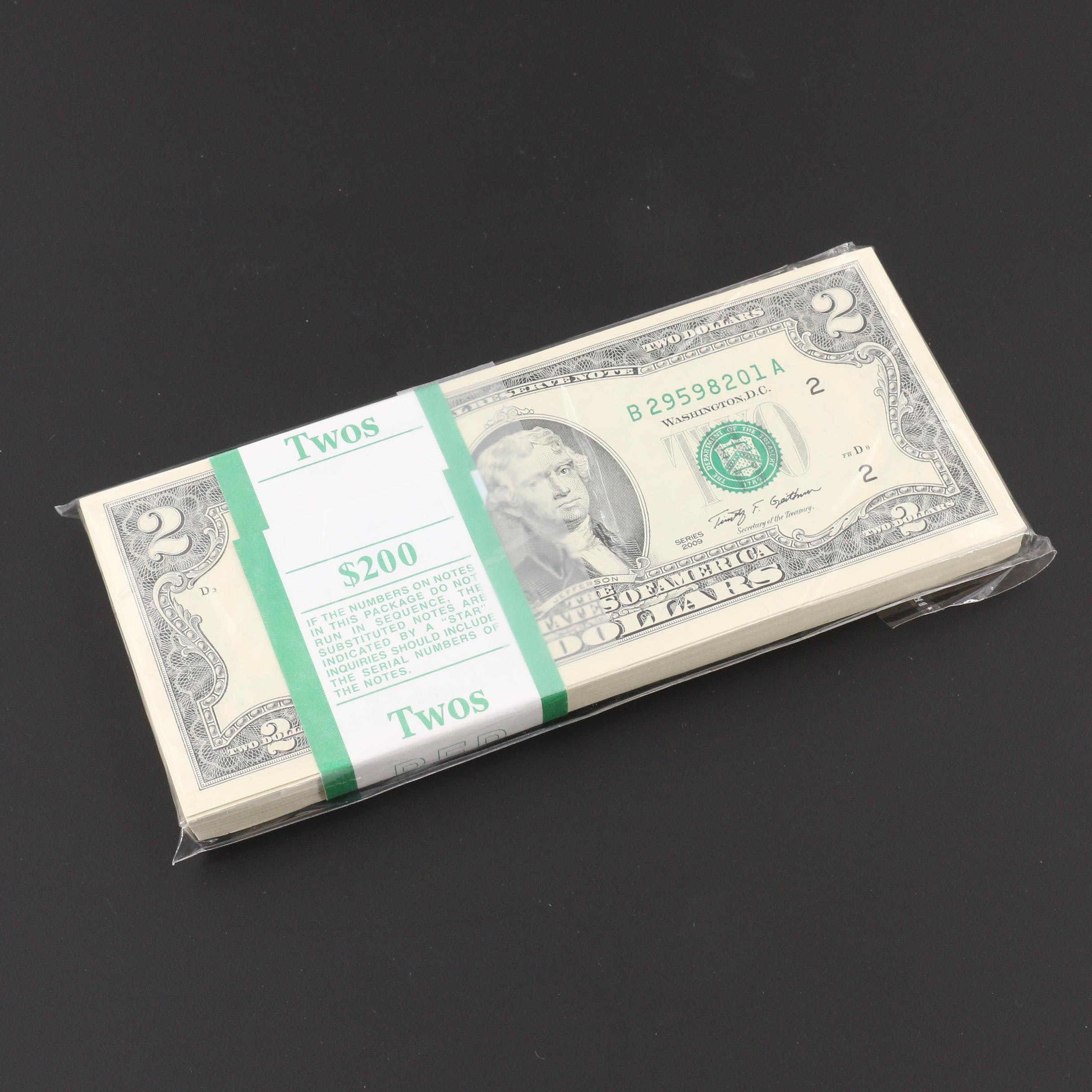 Uncirculated Brick of 100 Consecutive Serial Numbered 2009 U.S. $2 Notes