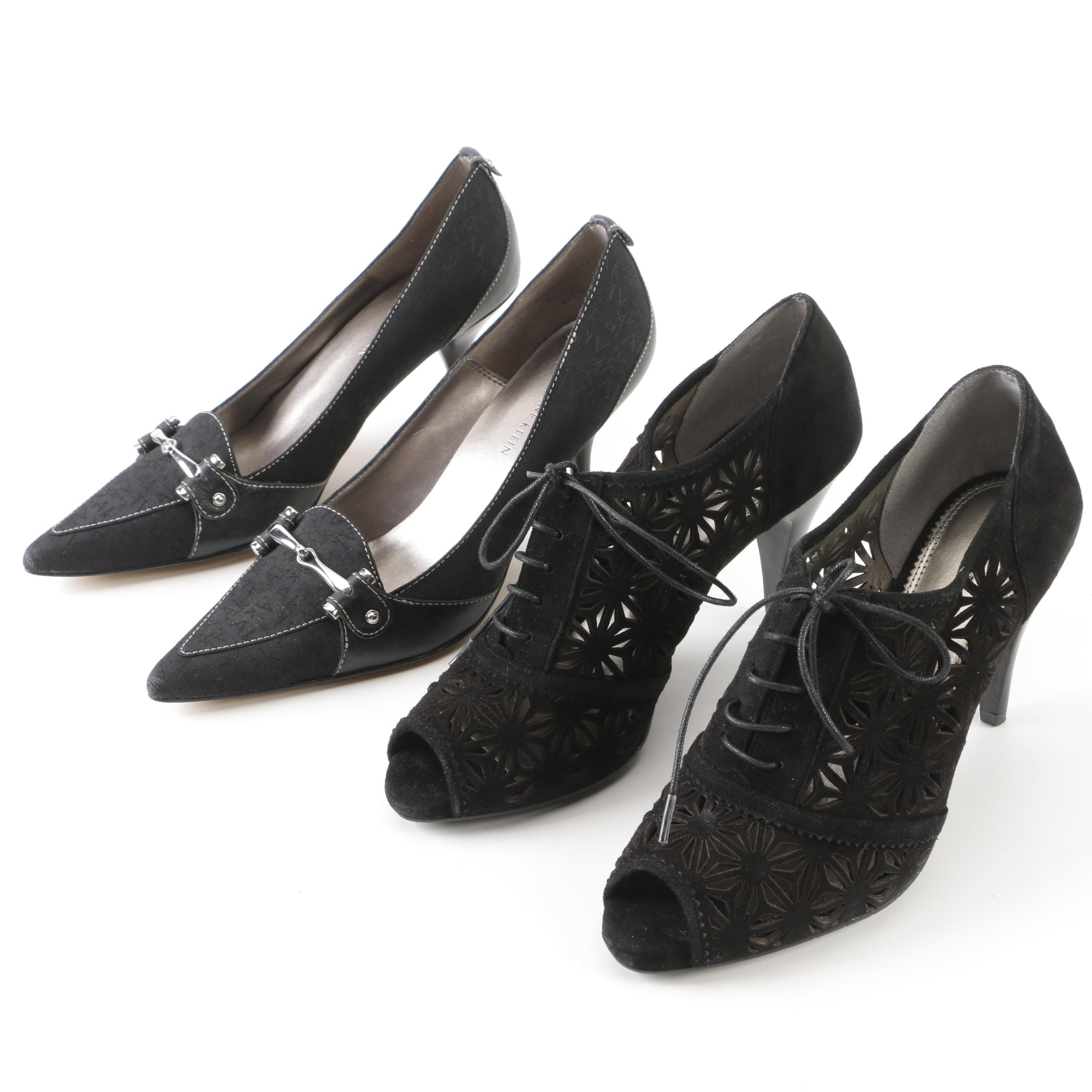 Anne Klein Monogram Pumps and A. Marinelli Laser-Cut Black Suede Lace-Up Booties
