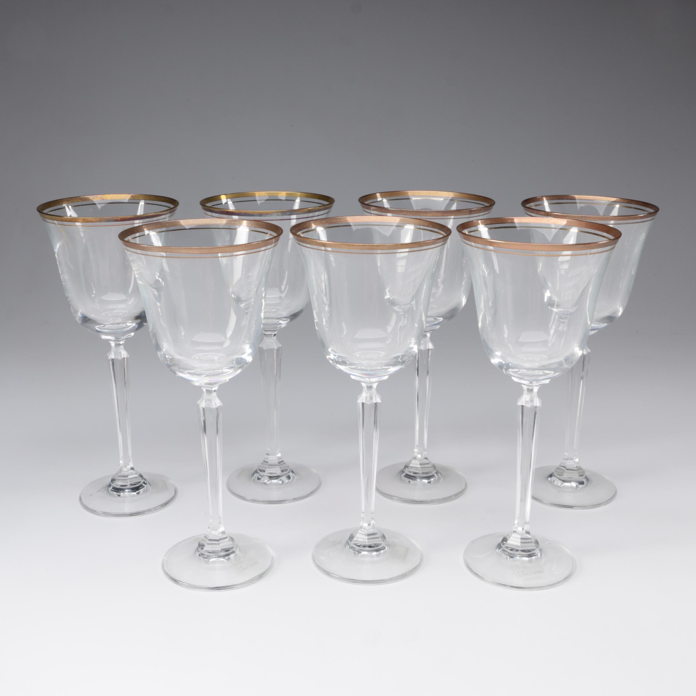 """Mikasa """"Wheaton"""" Crystal Water Goblets, Late 20th Century"""