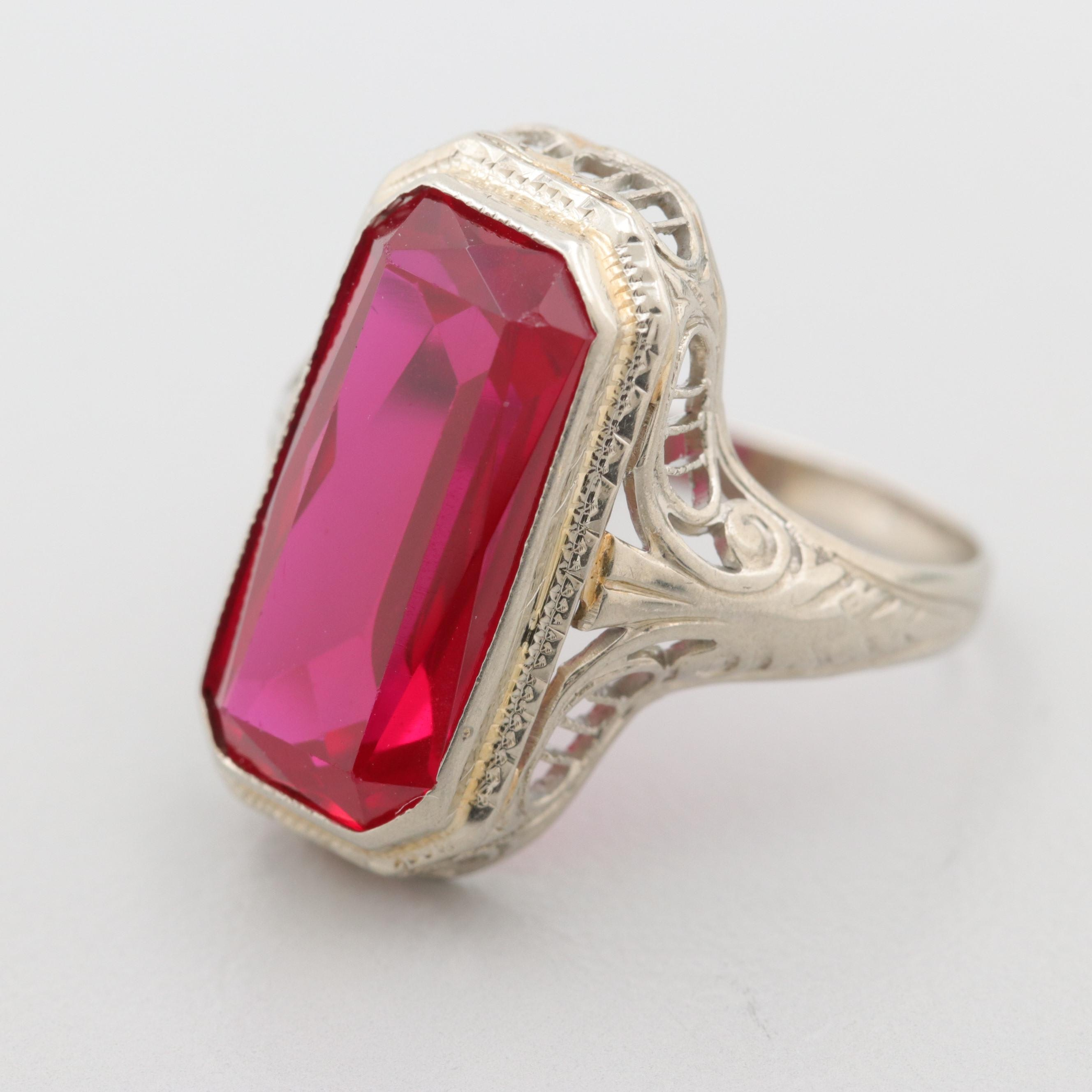 Art Deco 18K White Gold Synthetic Ruby Filigree Ring