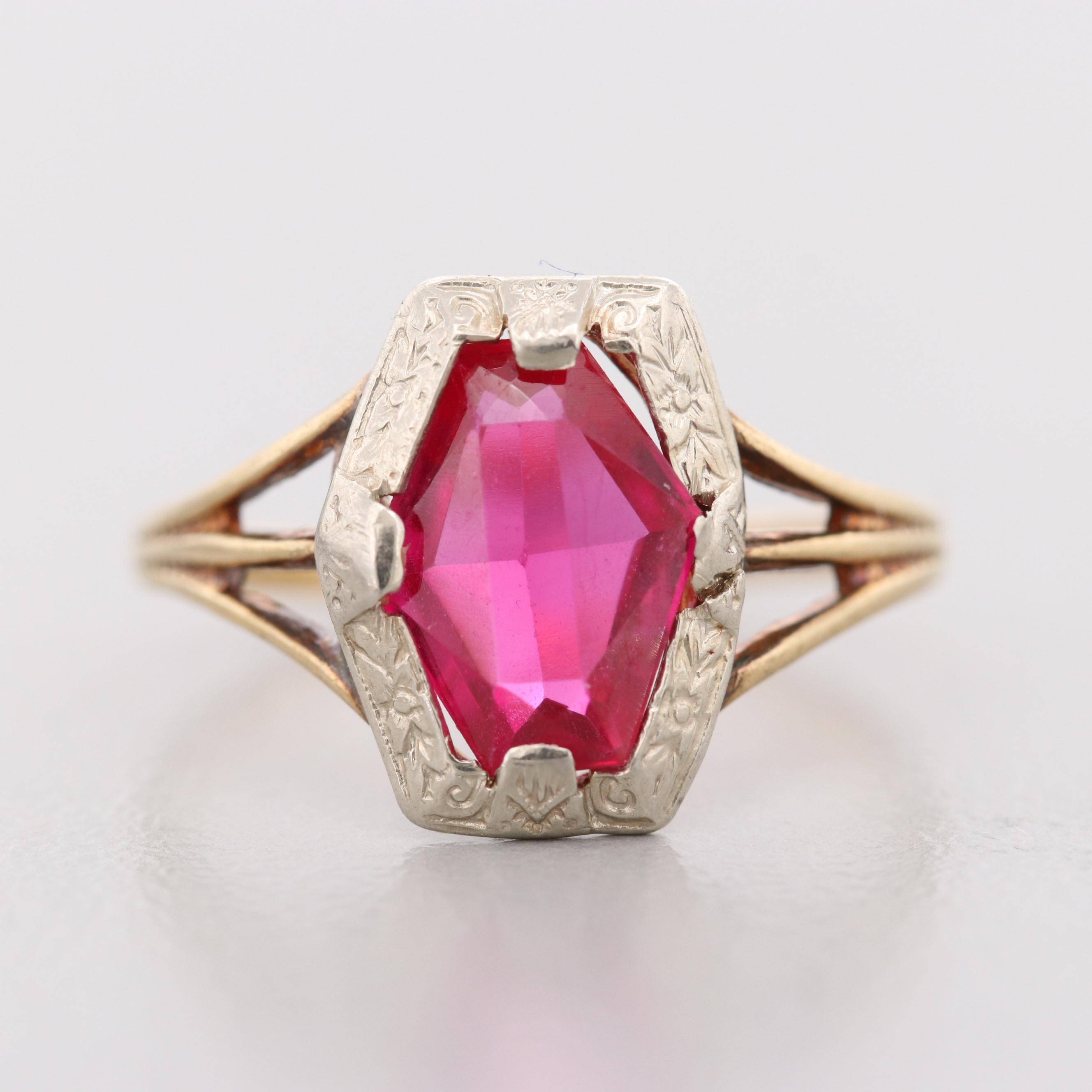 Ostby & Barton Art Deco 10K Yellow and White Gold Synthetic Ruby Ring