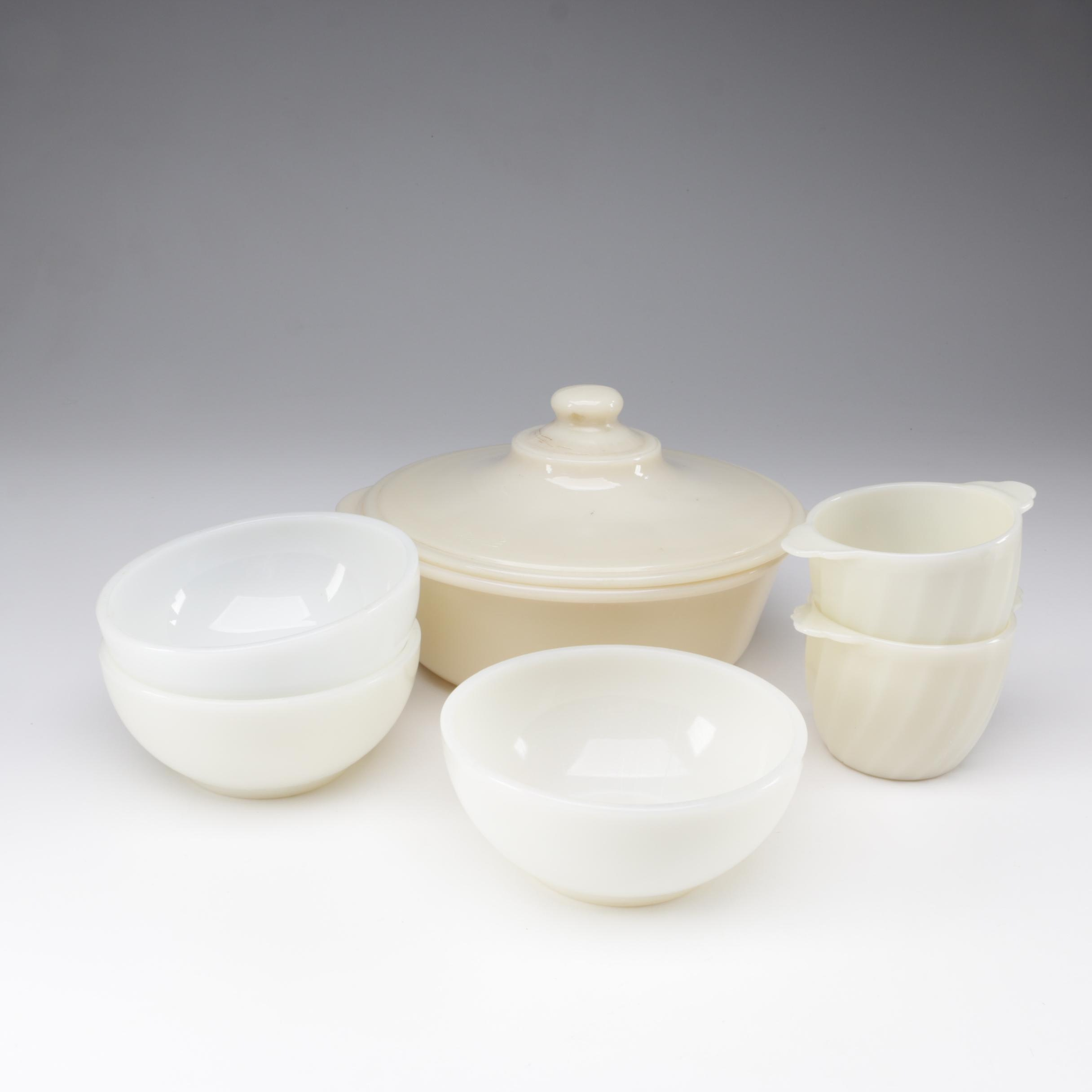 """Fire-King Glass Tableware Including """"Swirl Ivory"""" and """"Anchorwhite"""", 1950s/1960s"""