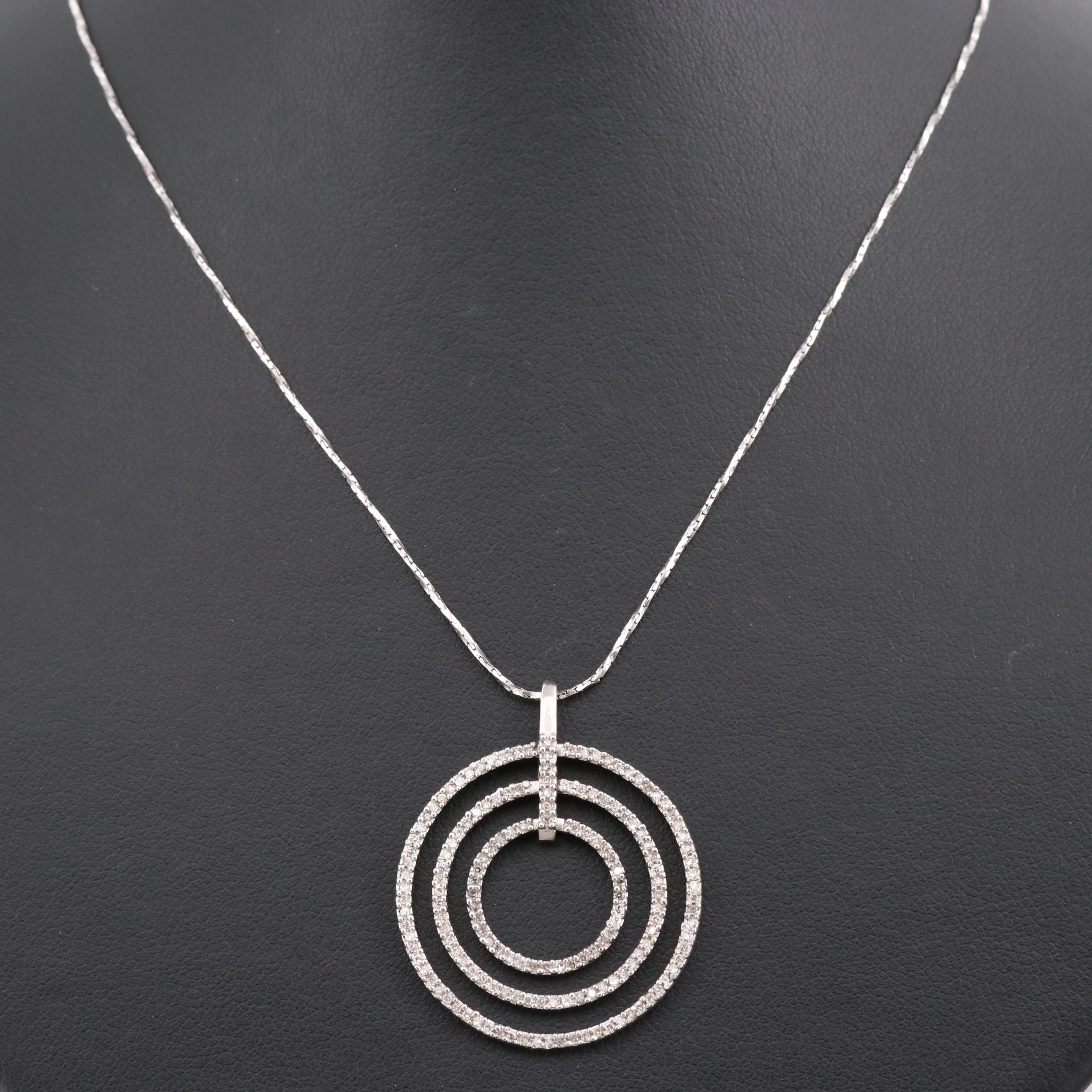 10K White Gold Diamond Triple Circle Pendant with 14K White Gold Chain Necklace
