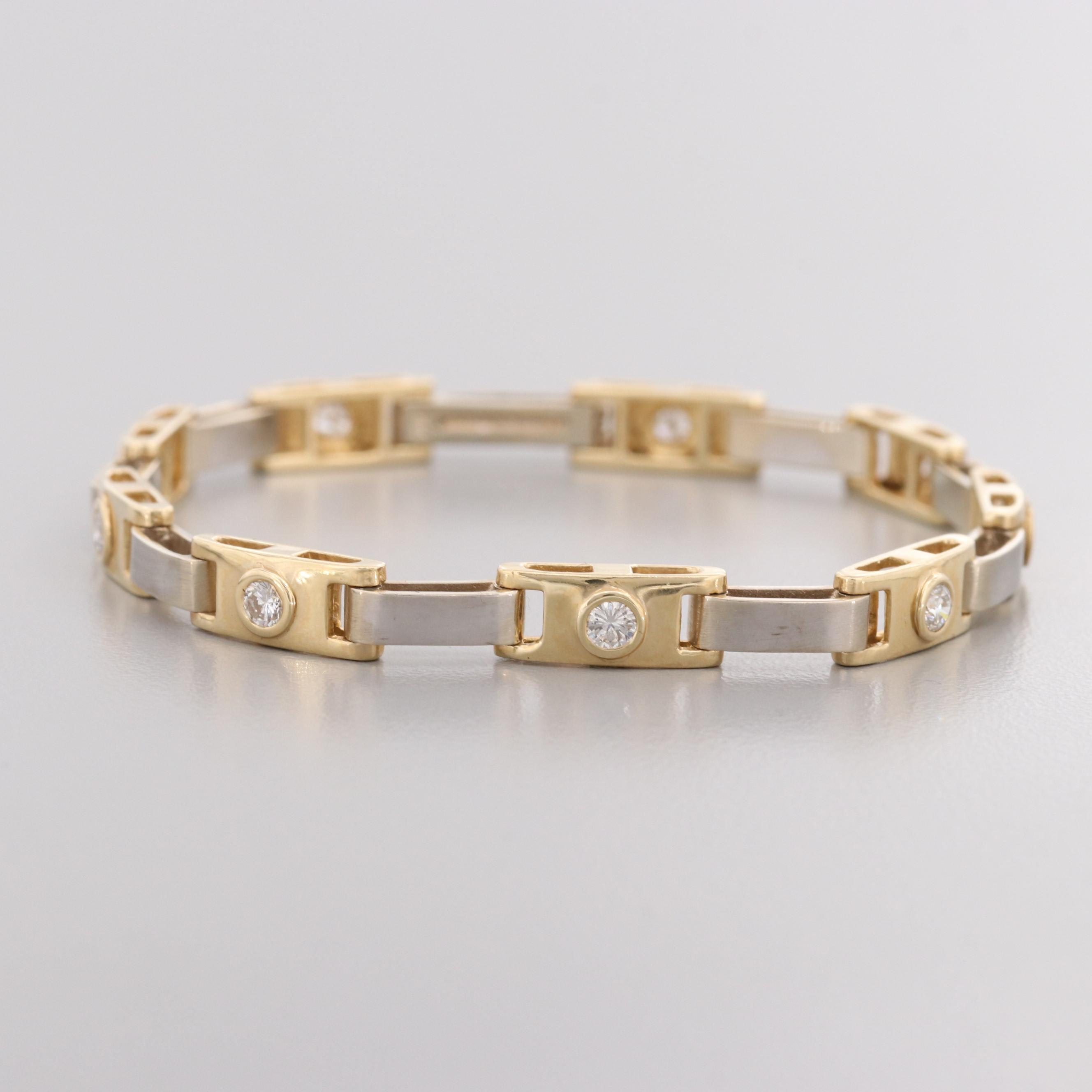 Contemporary 14K Yellow Gold Diamond Bracelet with Brushed White Gold Links