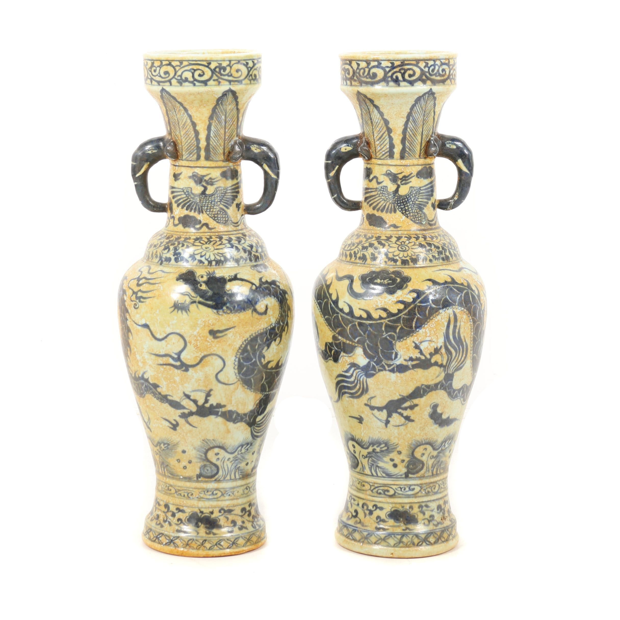 Chinese Blue Dragon Motif Ceramic Vases with Elephant Trunk Handles