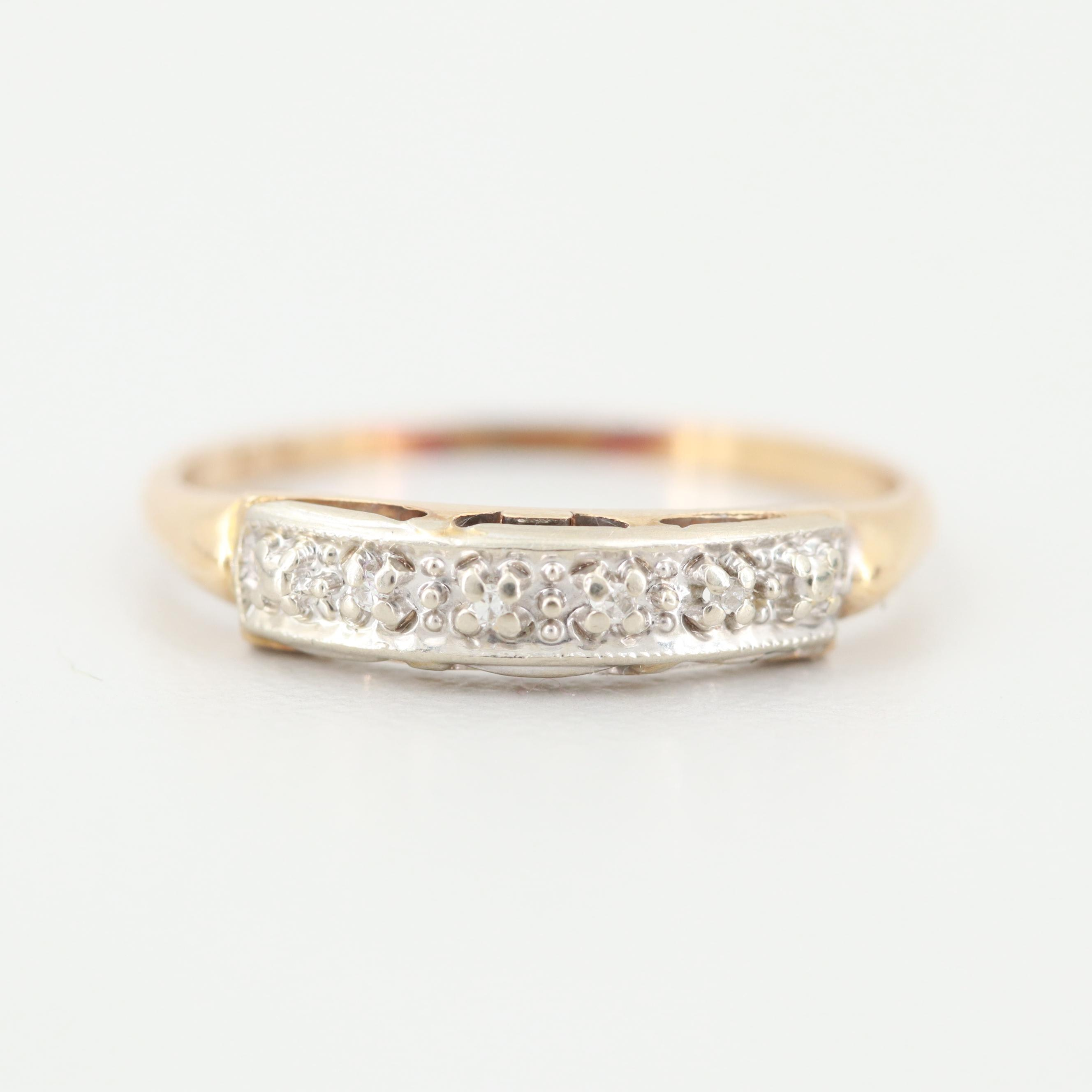 Vintage 14K Yellow Gold Diamond Ring with 14K White Gold Setting