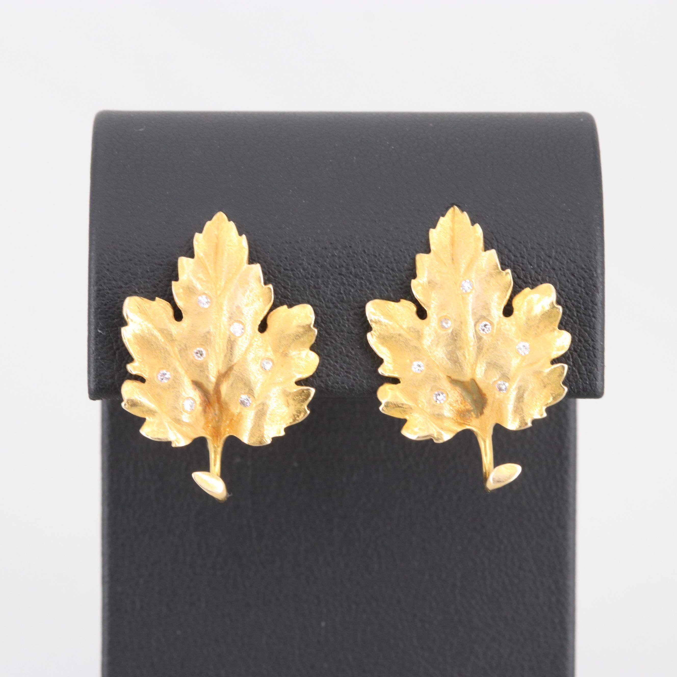 14K Yellow Gold Diamond Leaf Earrings