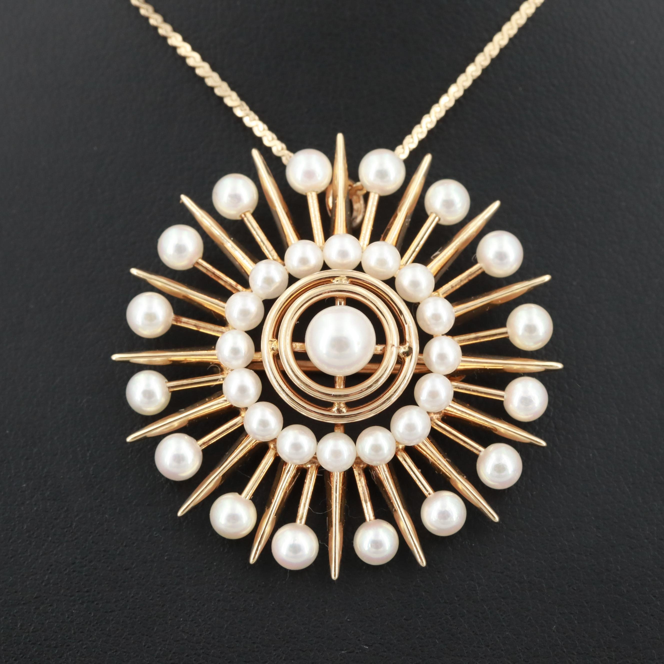 Circa 1950s 14K Yellow Gold Cultured Pearl Starburst Converter Pendant Necklace