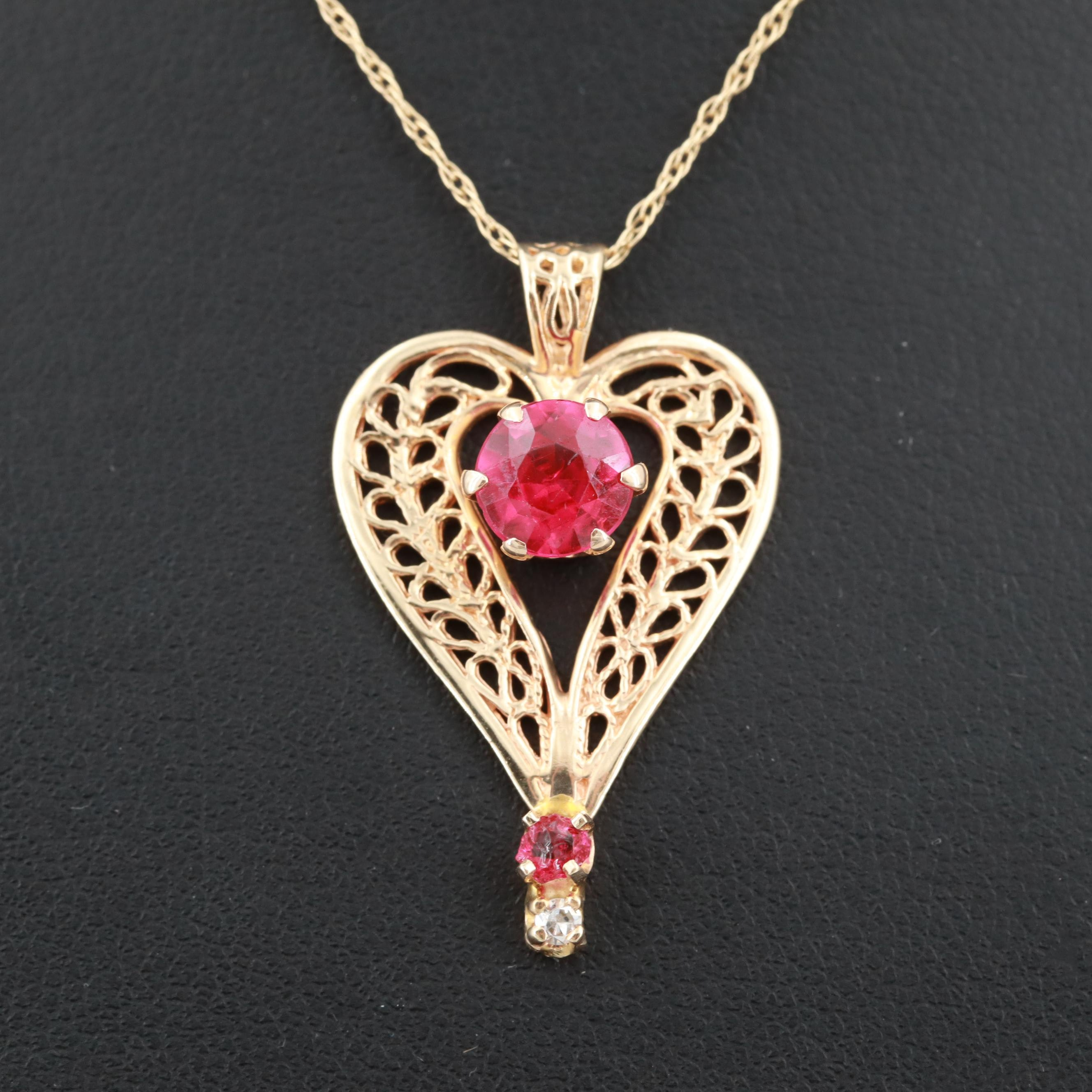 14K Yellow Gold Synthetic Ruby, Glass, and Diamond Pendant Necklace