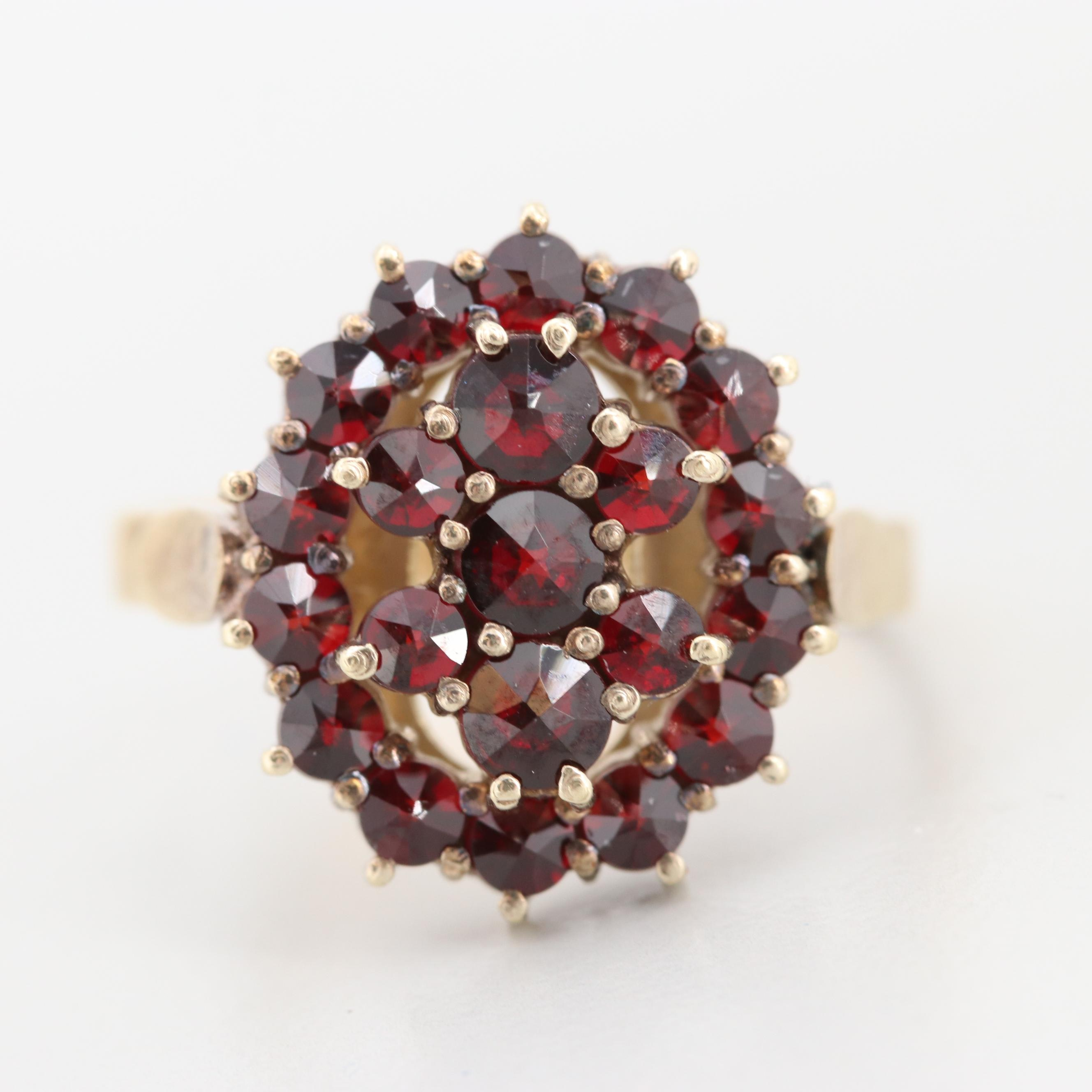Vintage Bohemian Gold Wash on 830 Silver Garnet Ring