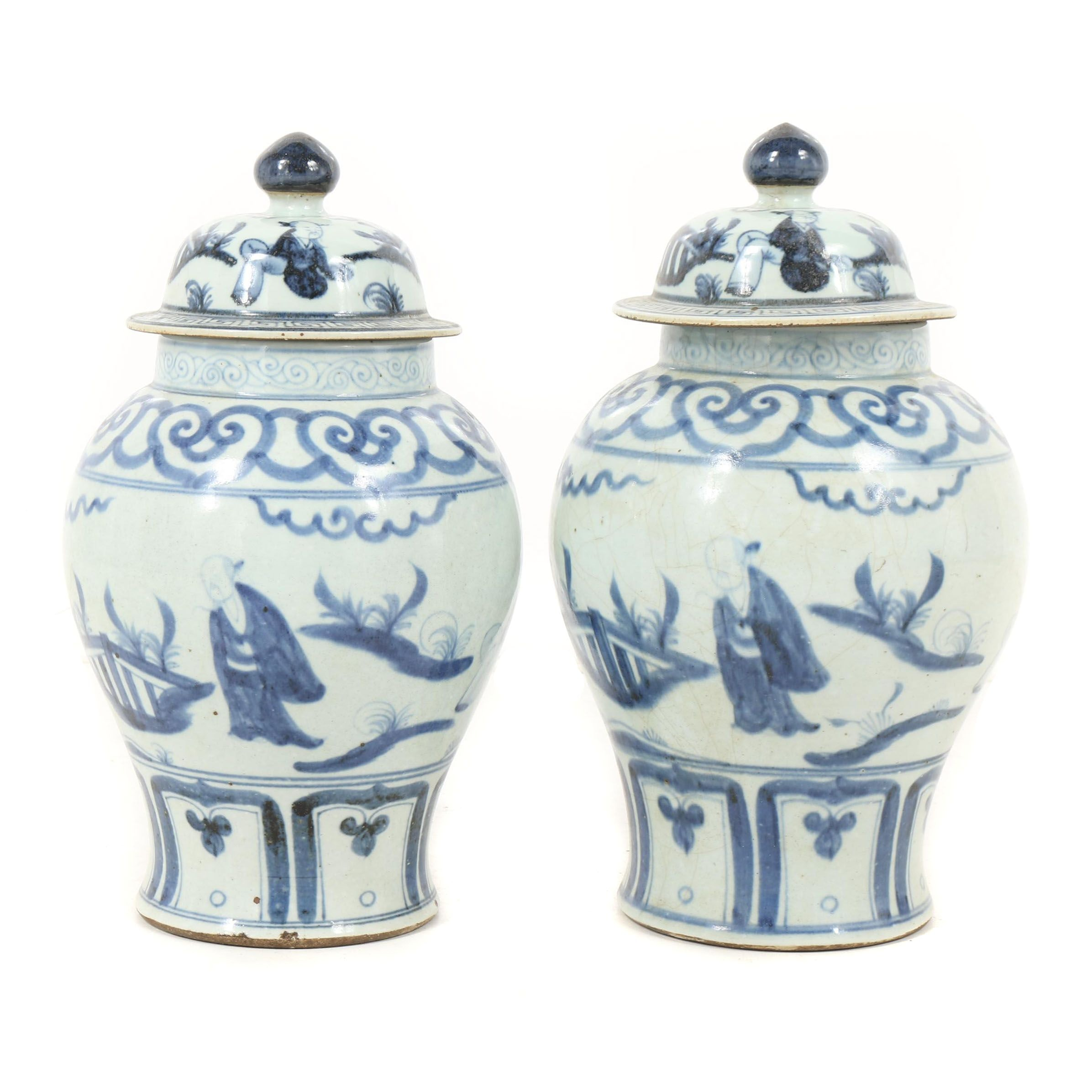 Chinese Blue and White Ceramic Lidded Urns