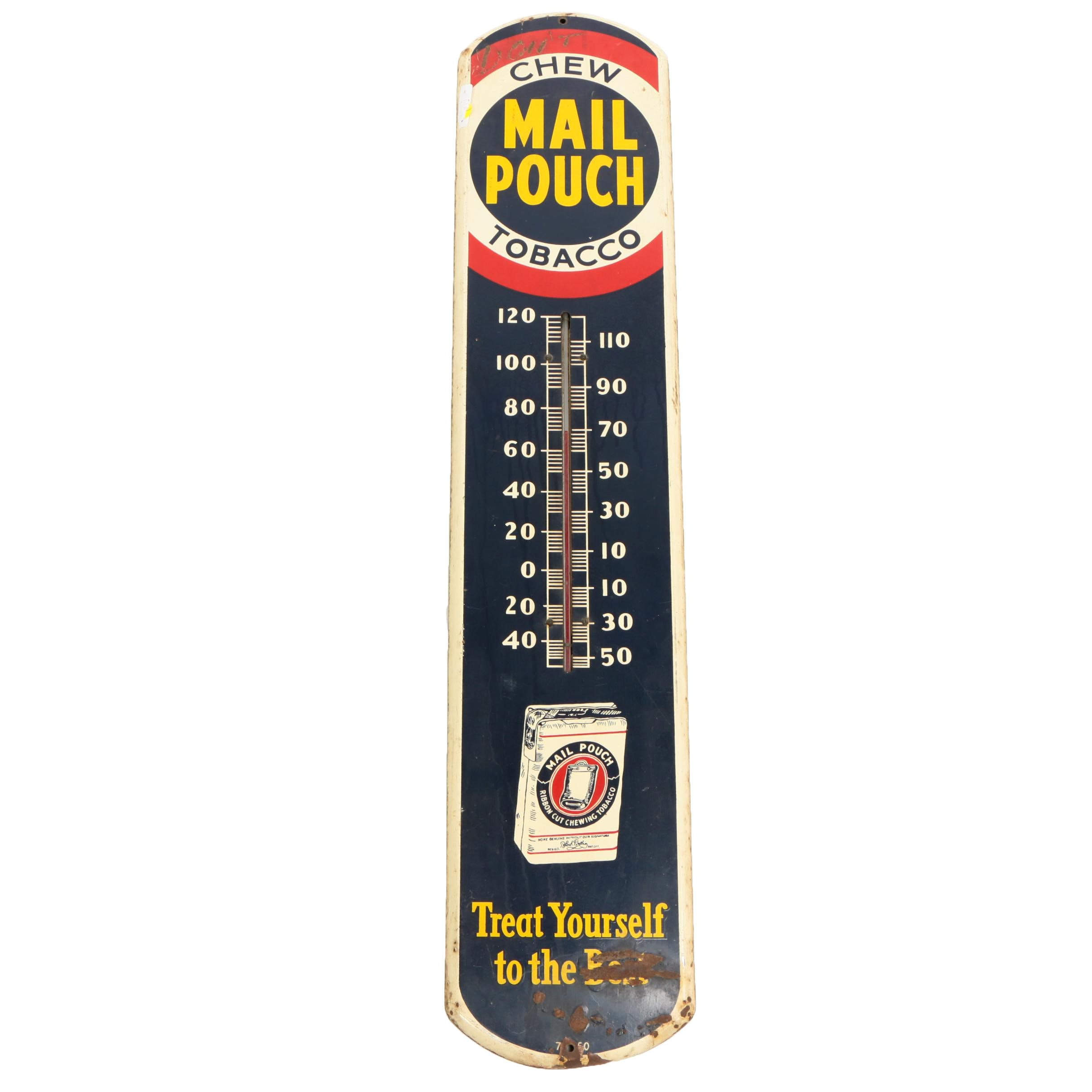 Mail Pouch Tobacco Enameled Metal Advertising Thermometer, 1930s