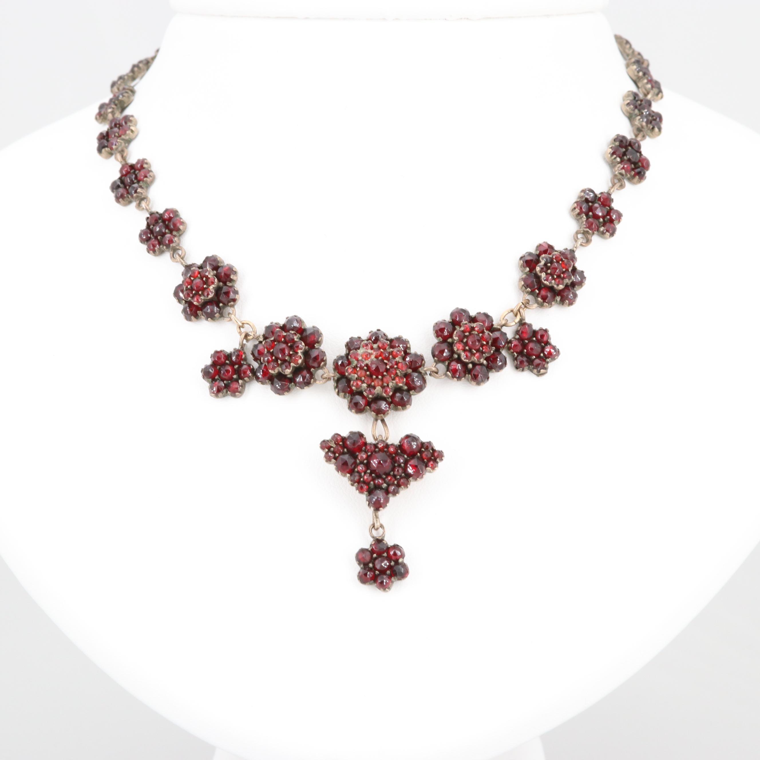 Early 1900s Bohemian Silver Tone Garnet Necklace
