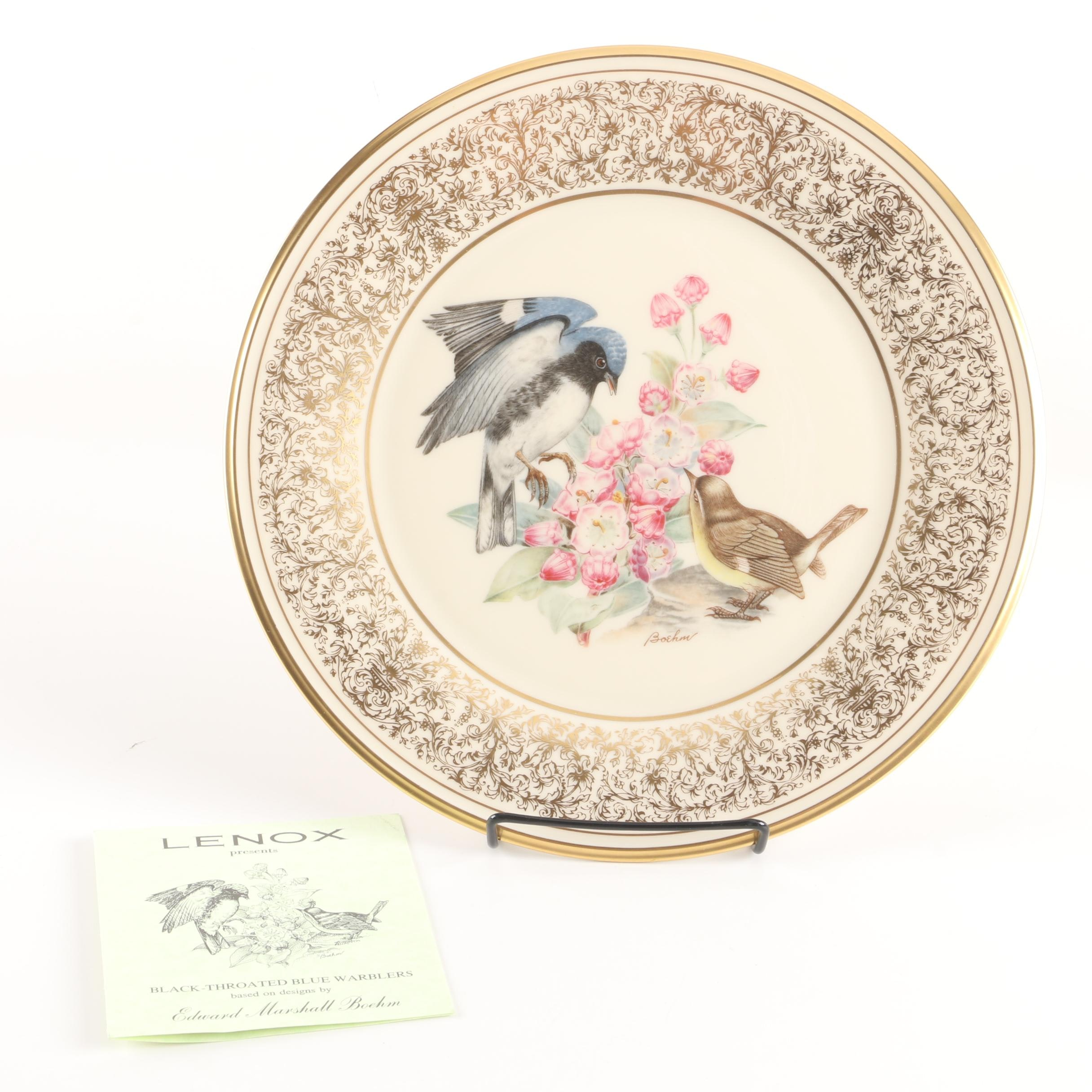 "1980 Lenox ""Boehm Birds"" Porcelain Black-Throated Blue Warblers Plate"