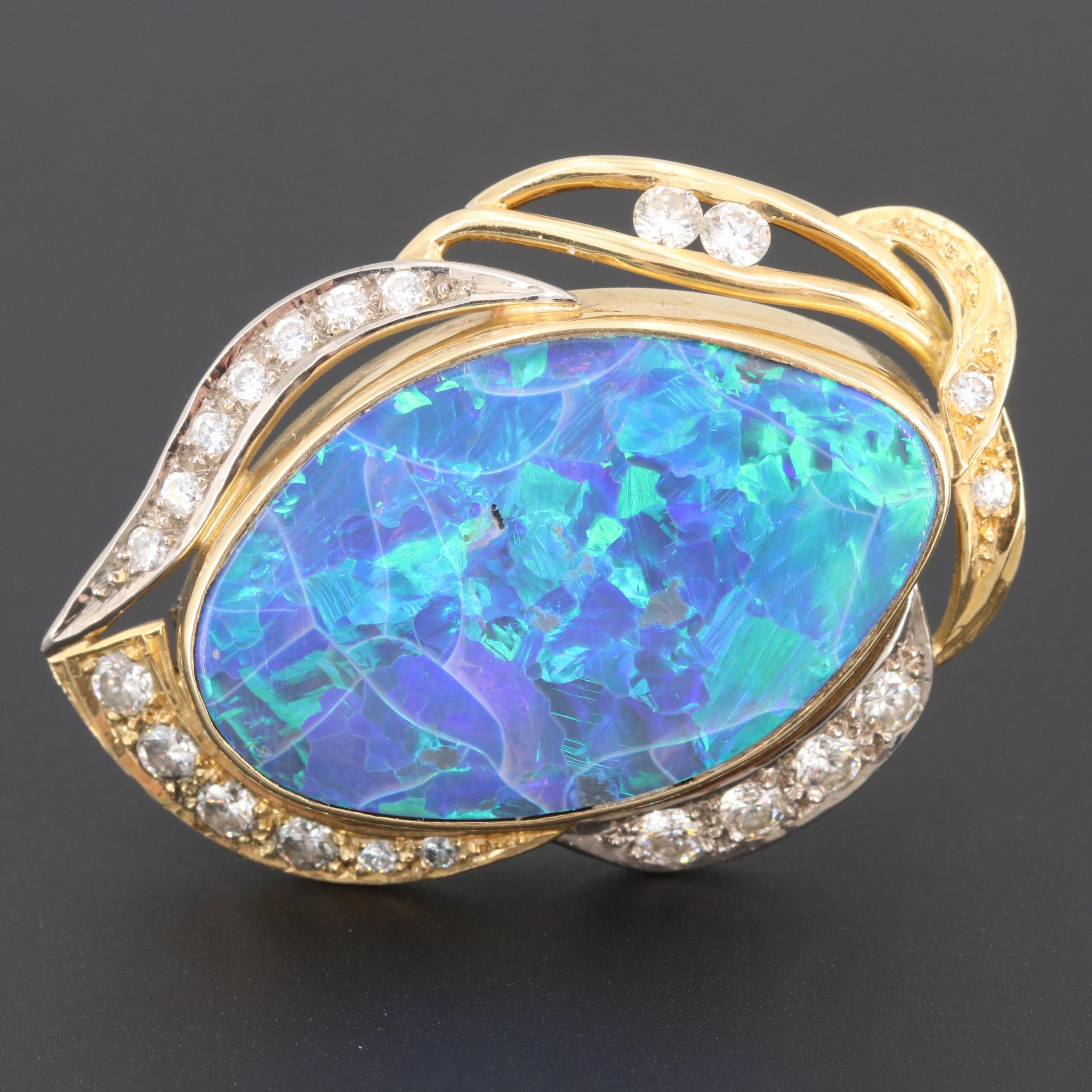18K Yellow Gold Opal and 1.51 CTW Diamond Converter Brooch