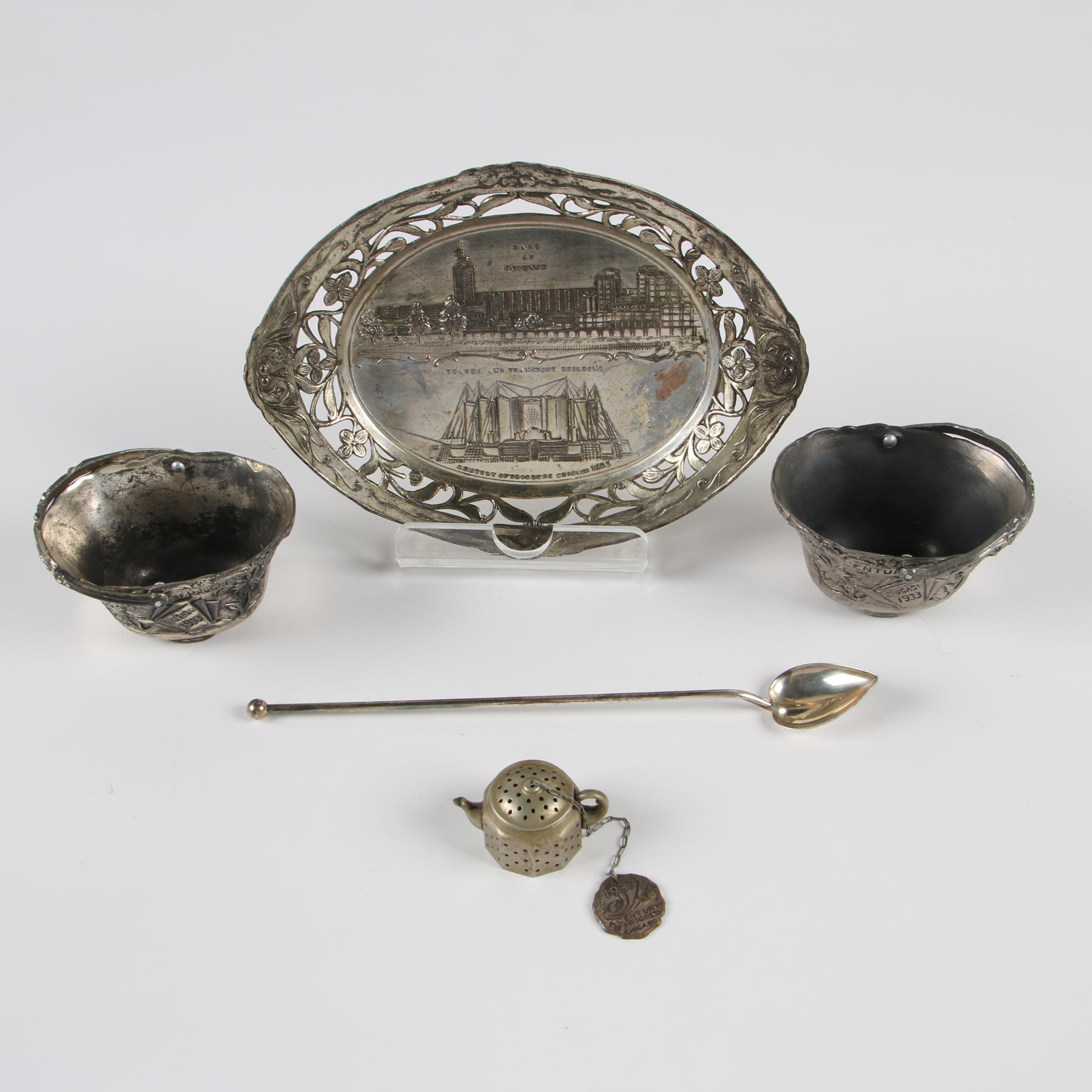 Watson Sterling Stirring Straw and Chicago Silver Plate Souvenirs
