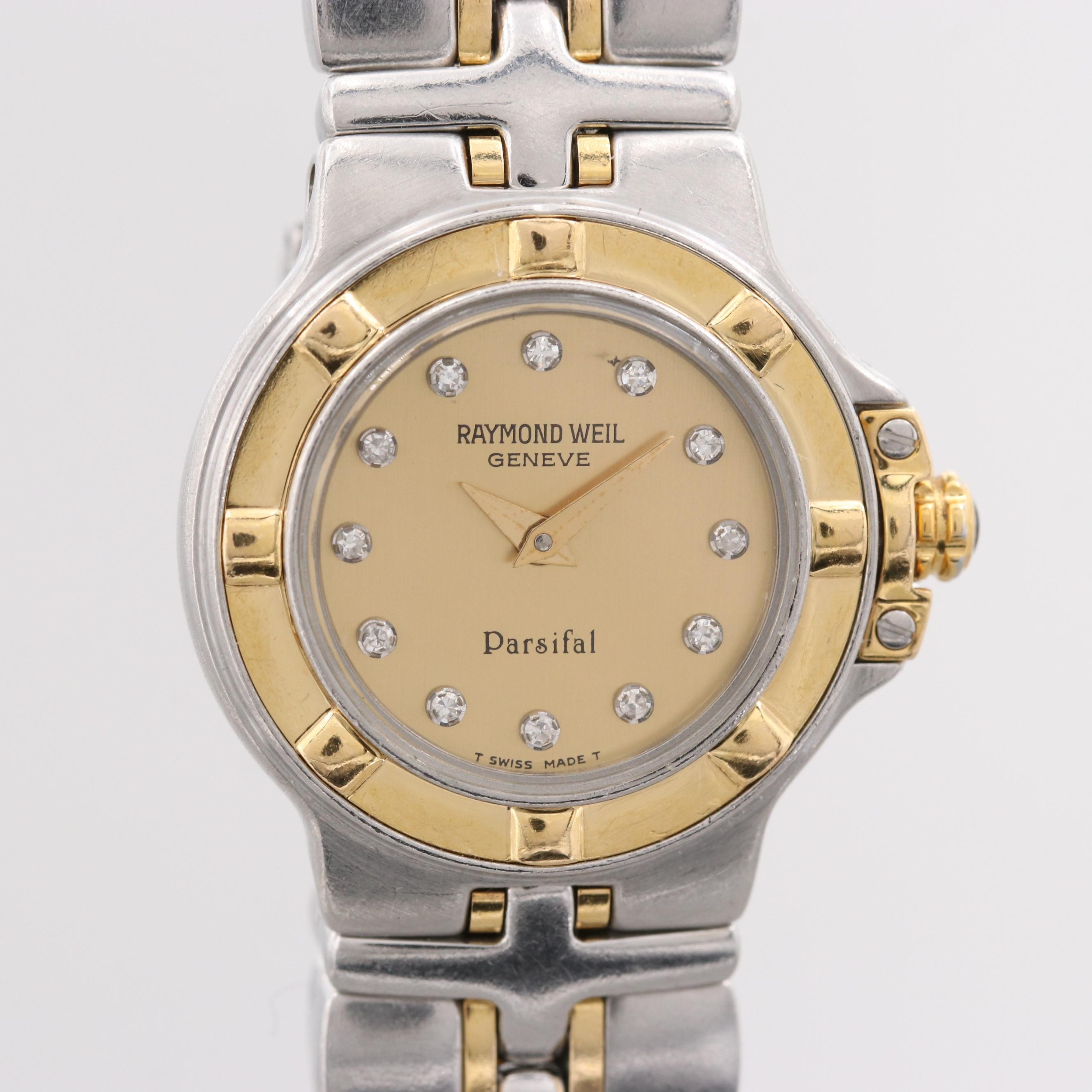 Raymond Weil Parsifal Two Tone Stainless Steel Wristwatch With Diamond Dial