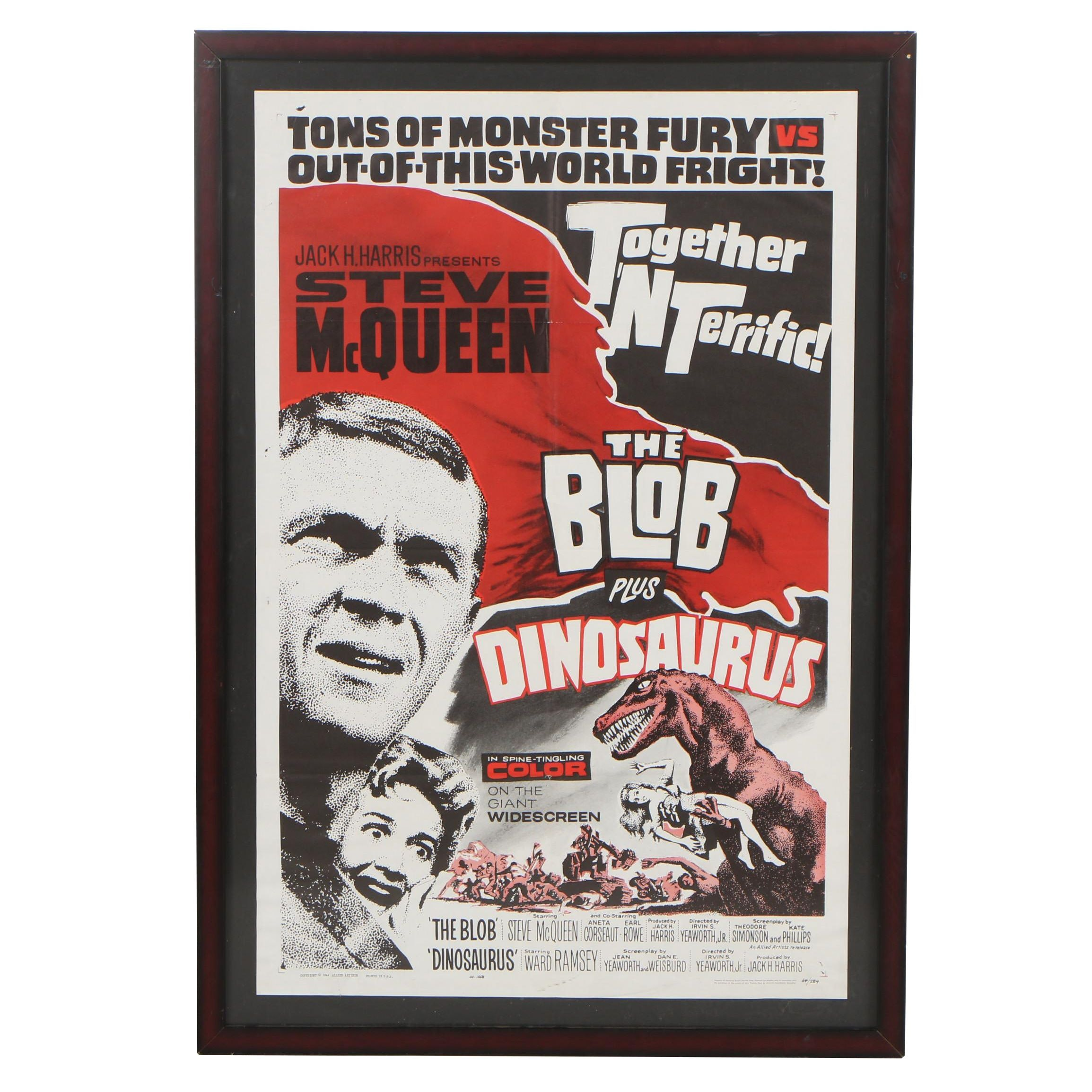 """""""The Blob Plus Dinosaurus!"""" Double Feature One Sheet Poster, 1964"""