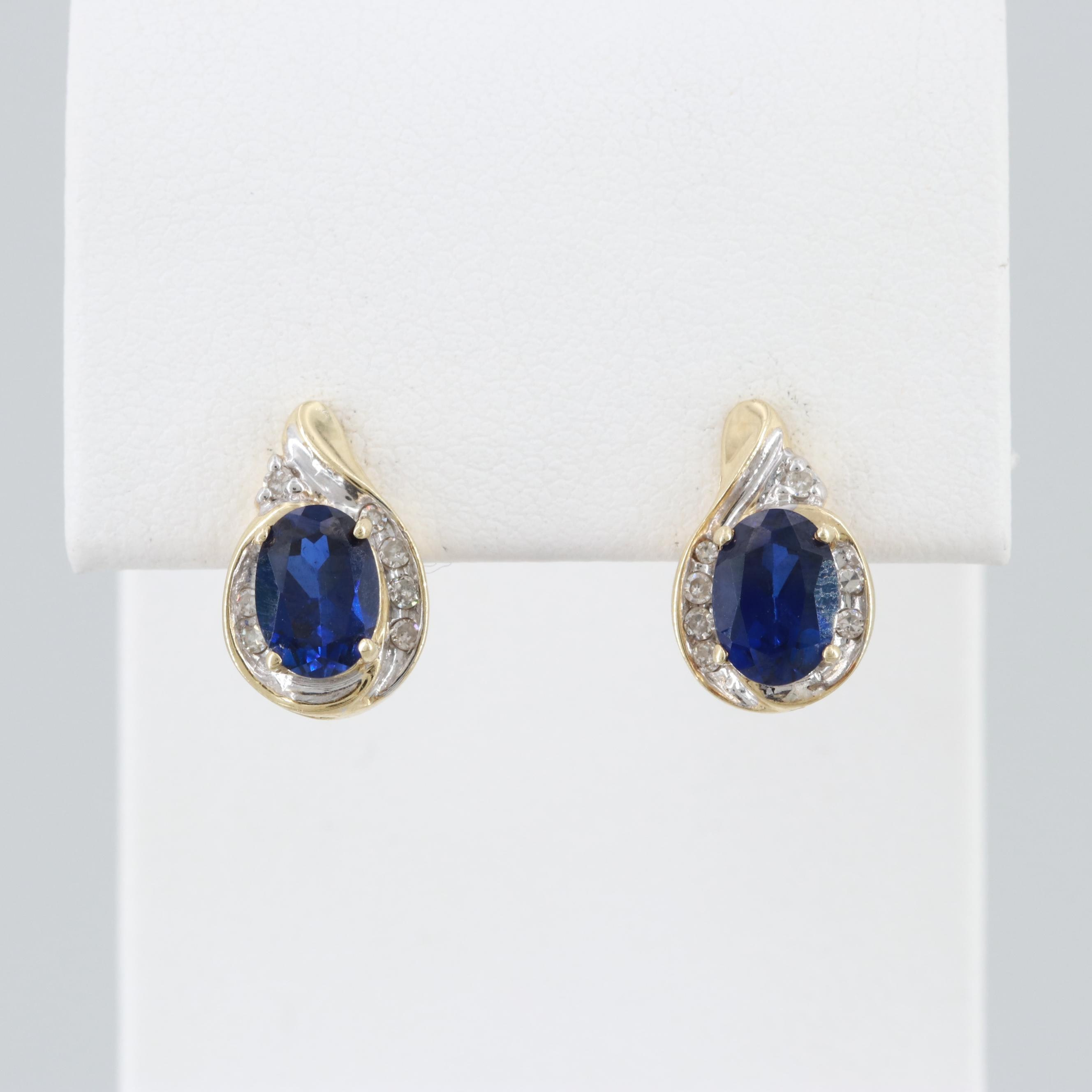 10K Yellow Gold Synthetic Blue Sapphire and Diamond Earrings