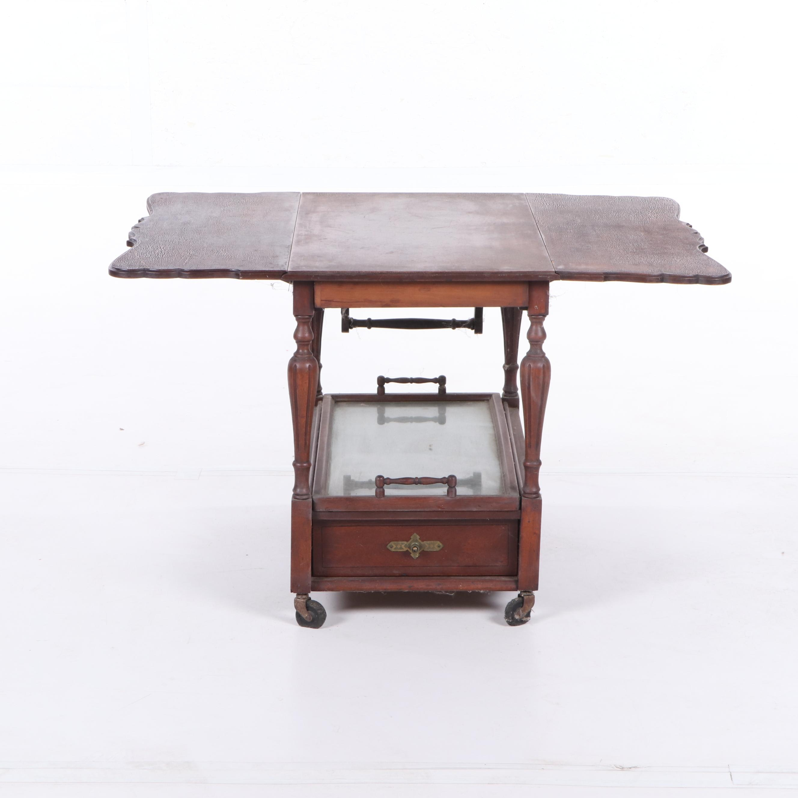 Federal Style Mahogany Drop Leaf Tea Cart, Mid-20th Century