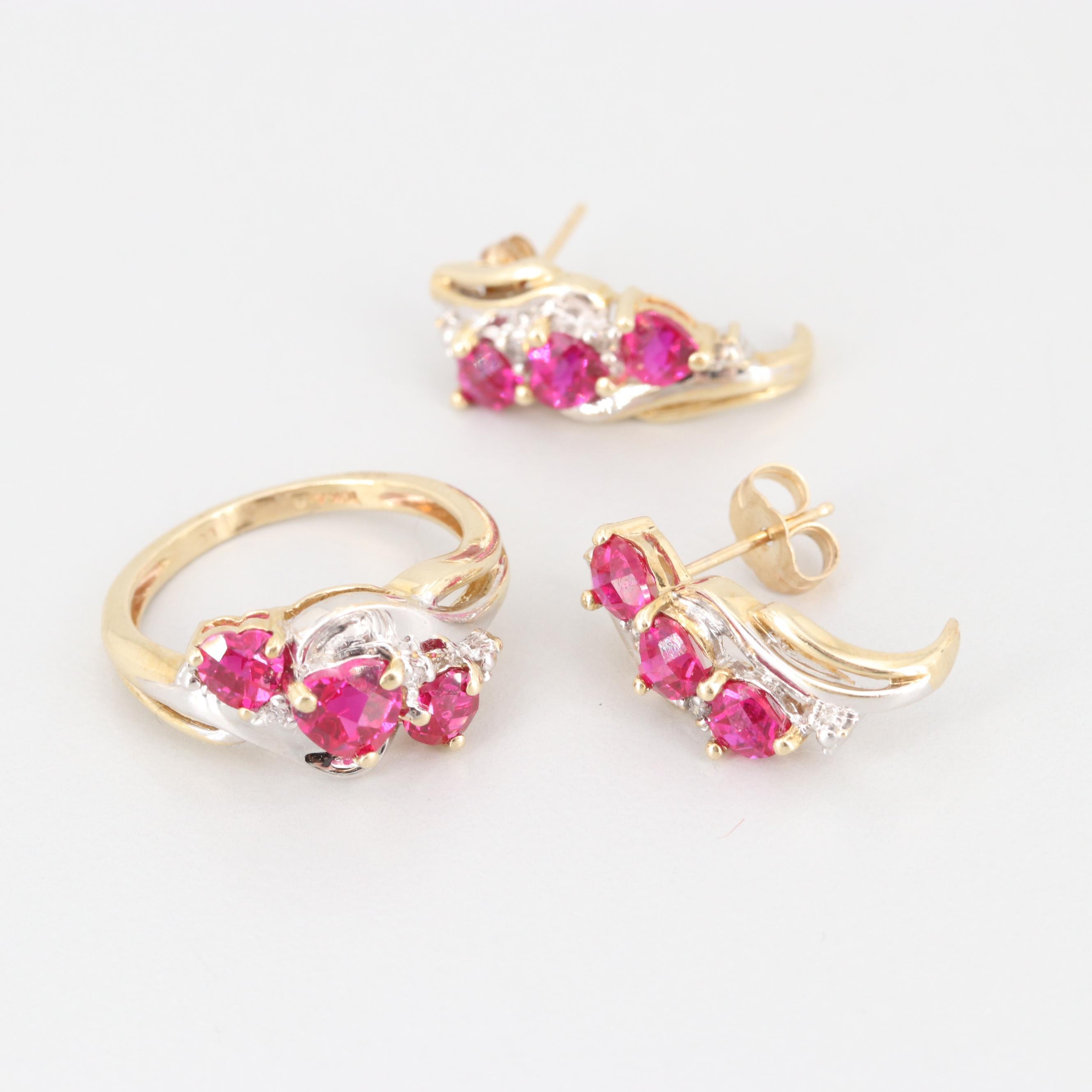 Alwand Vahan 10K Yellow Gold Synthetic Ruby and Diamond Earrings and Ring