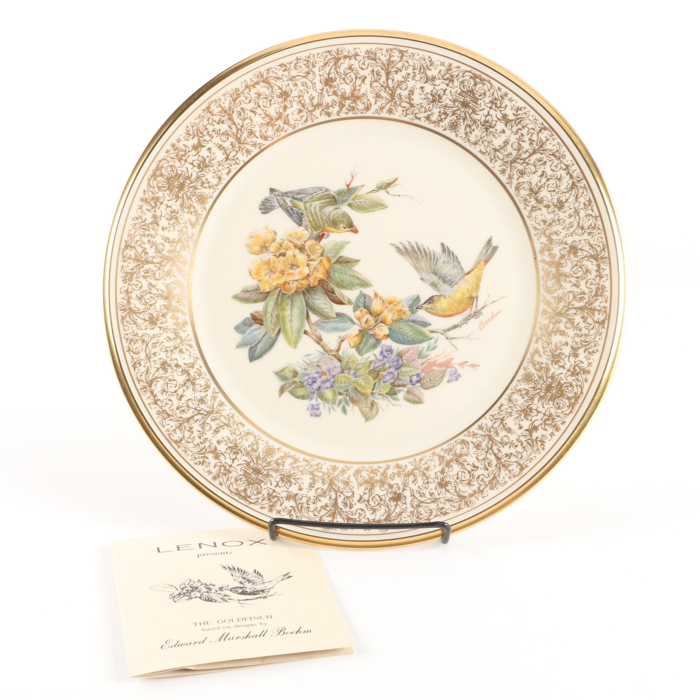 "1971 Lenox ""Boehm Birds"" Porcelain Goldfinch Plate"