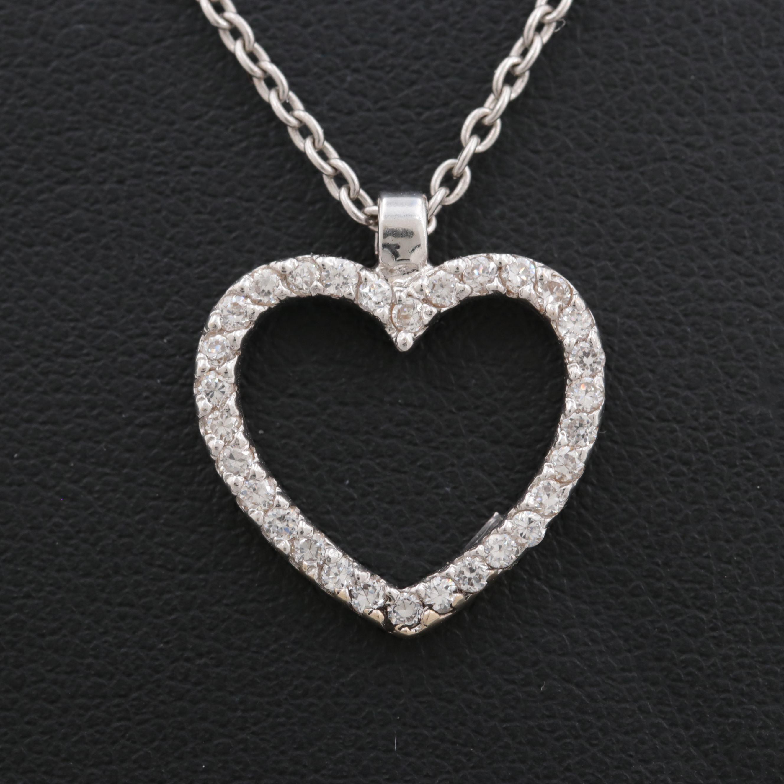 18K White Gold Cubic Zirconia Heart Pendant Necklace