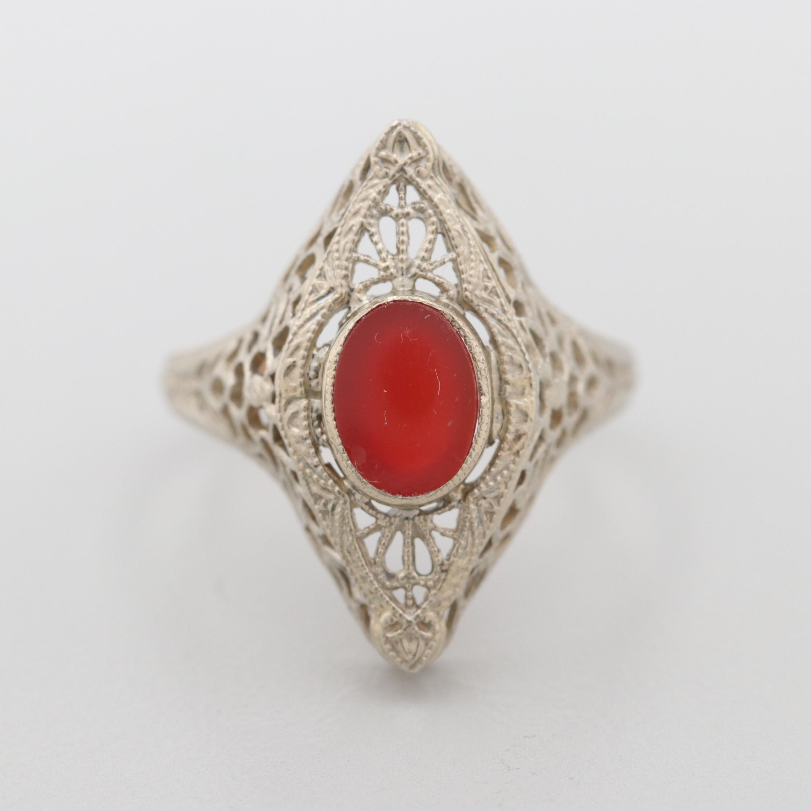 Art Deco 14K White Gold Carnelian Filigree Ring