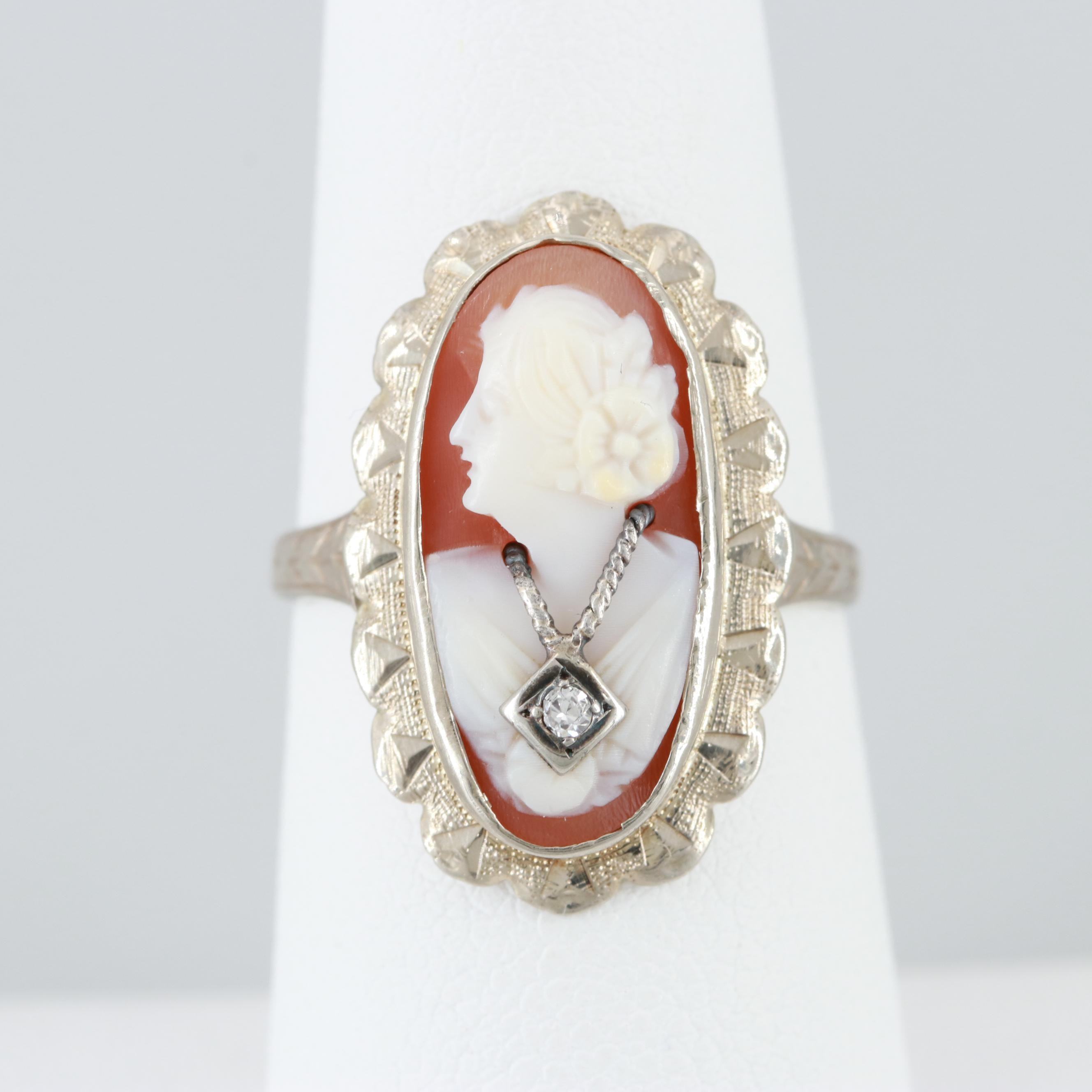 Vintage 14K White Gold Helmet Shell and Diamond Habillé Cameo Ring