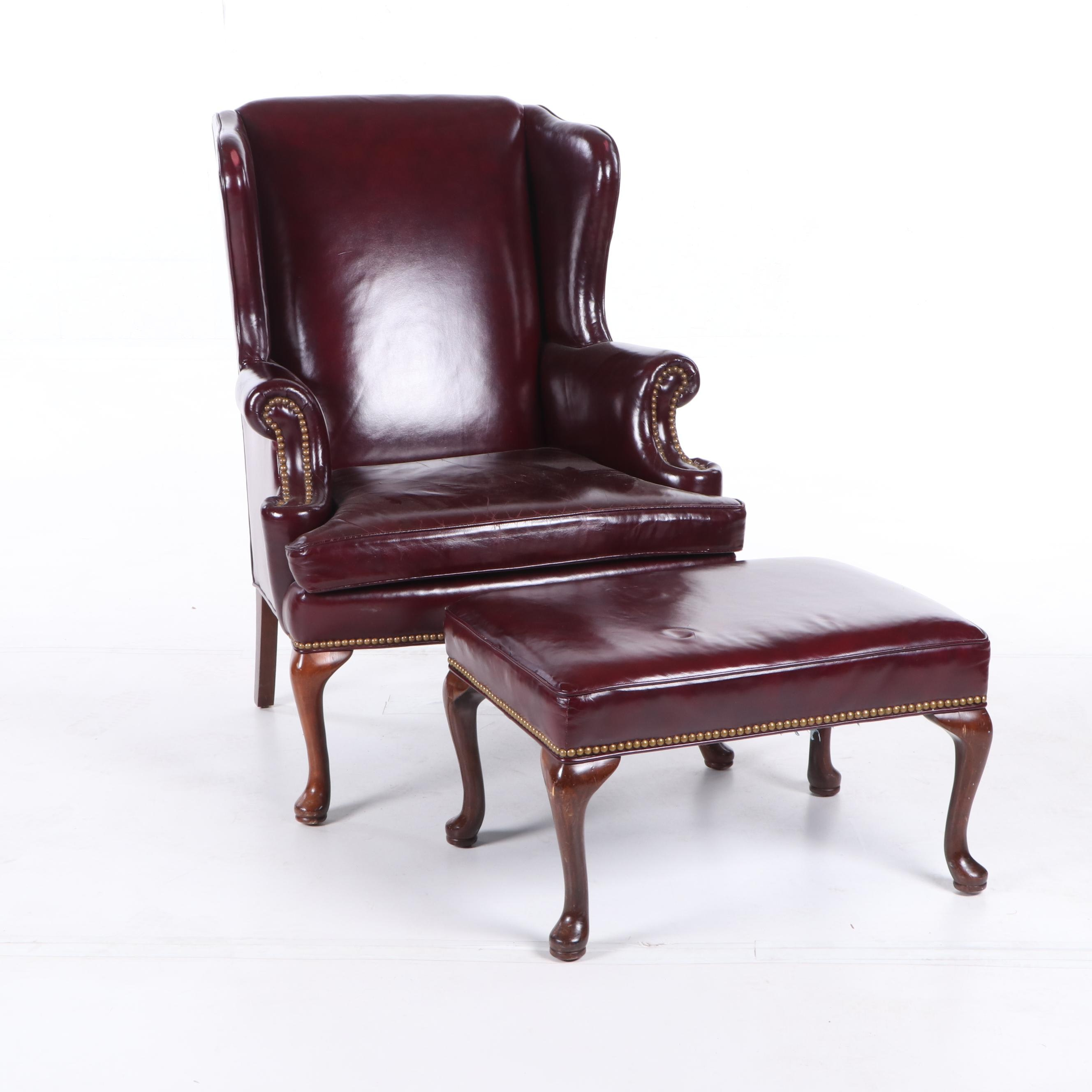 Clarendon Collection Leather Wingback Chair and Ottoman