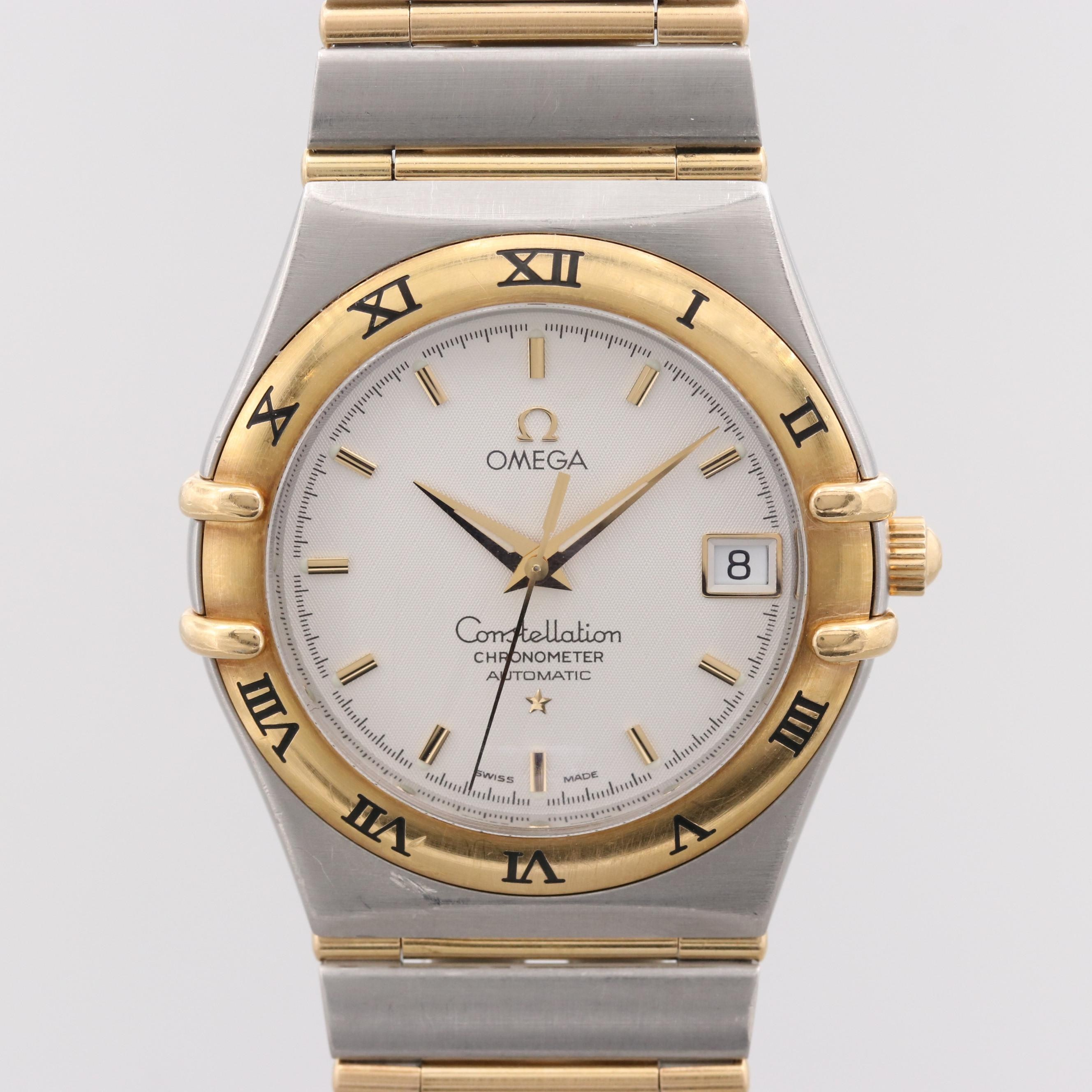 Omega Constellation Stainless Steel and 18K Yellow Gold Automatic Wristwatch