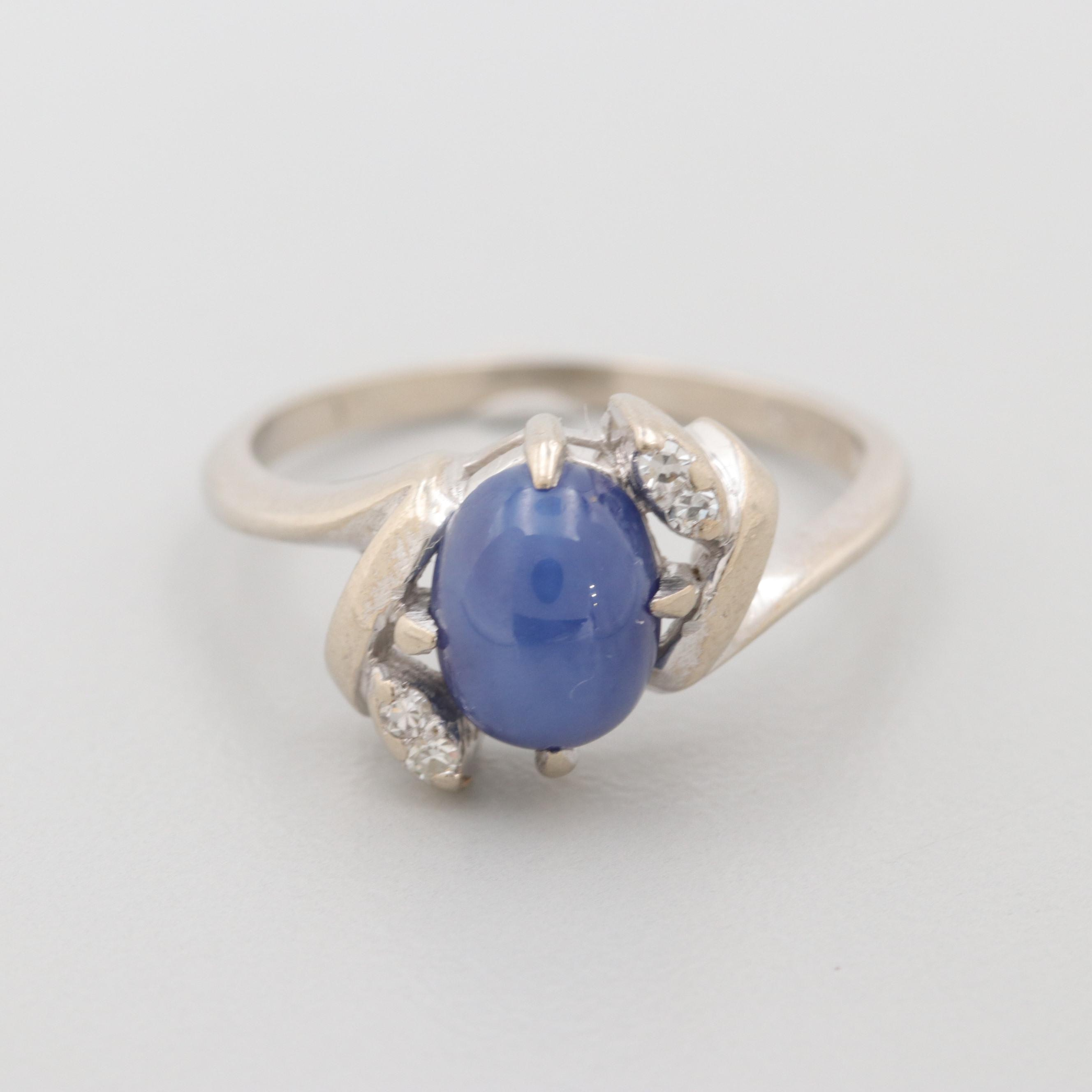 Vintage 14K White Gold Synthetic Star Sapphire and Diamond Ring