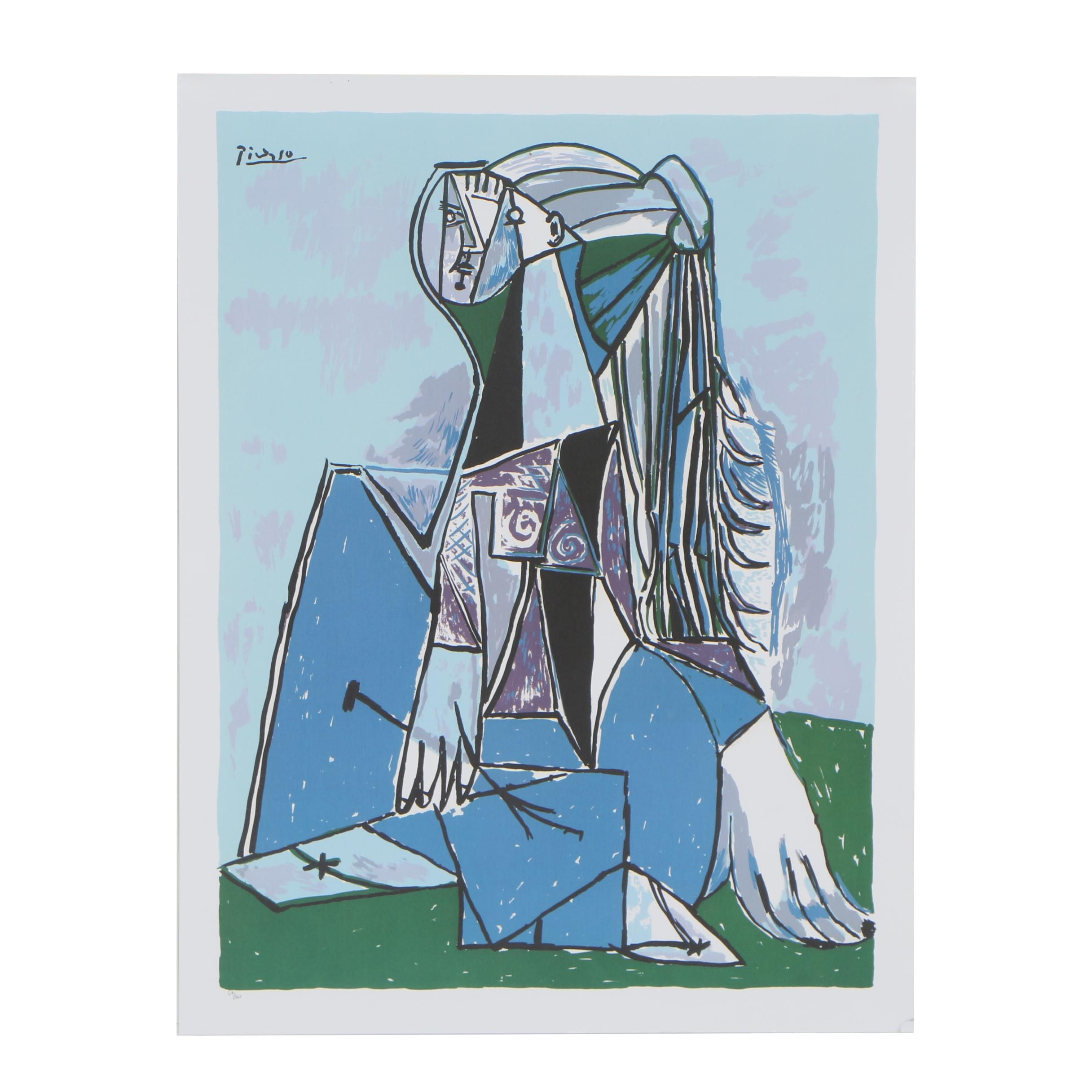 """Offset Lithograph after Pablo Picasso """"The Thinker"""""""