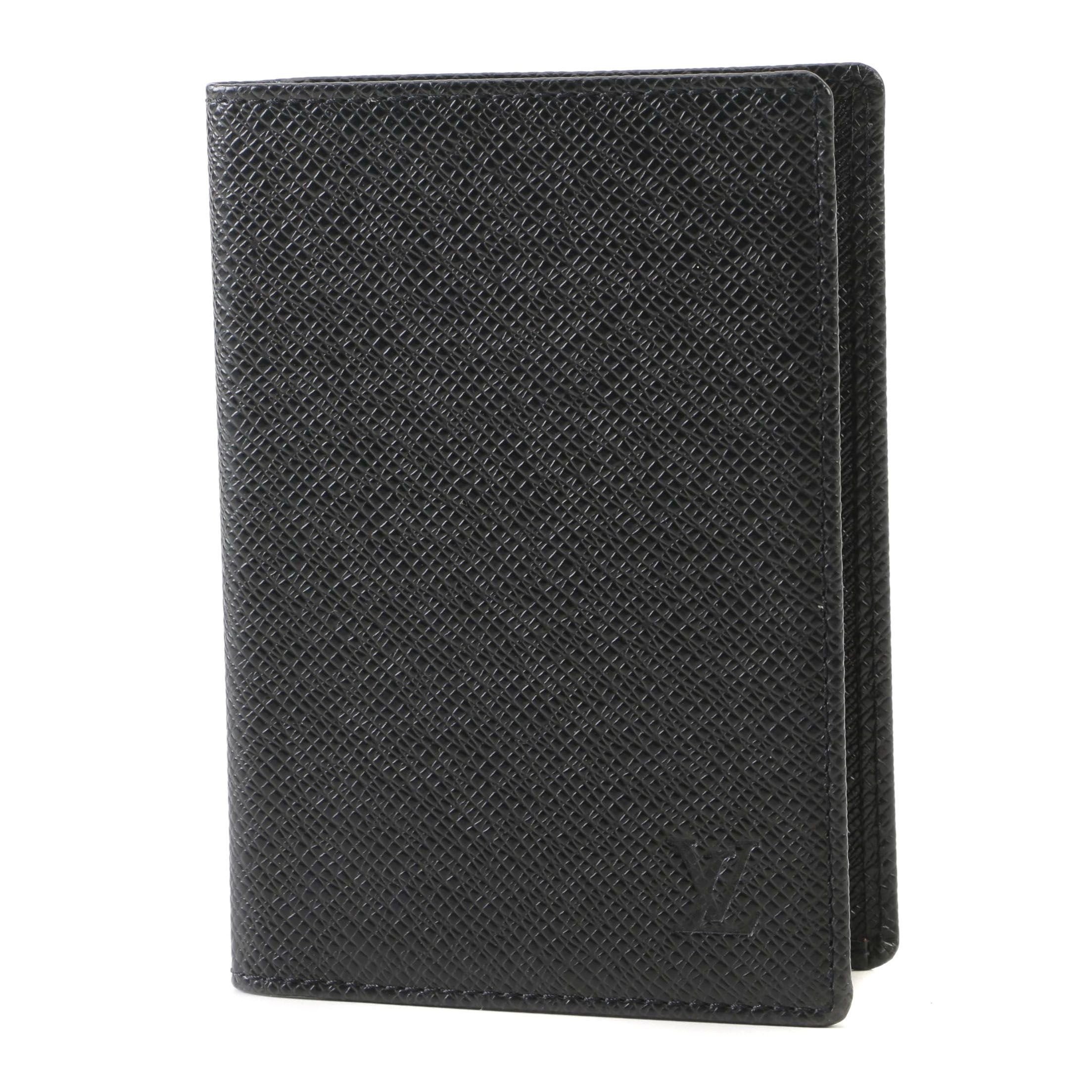 Louis Vuitton Black Taiga Leather Notepad Cover, Made in France, 2000