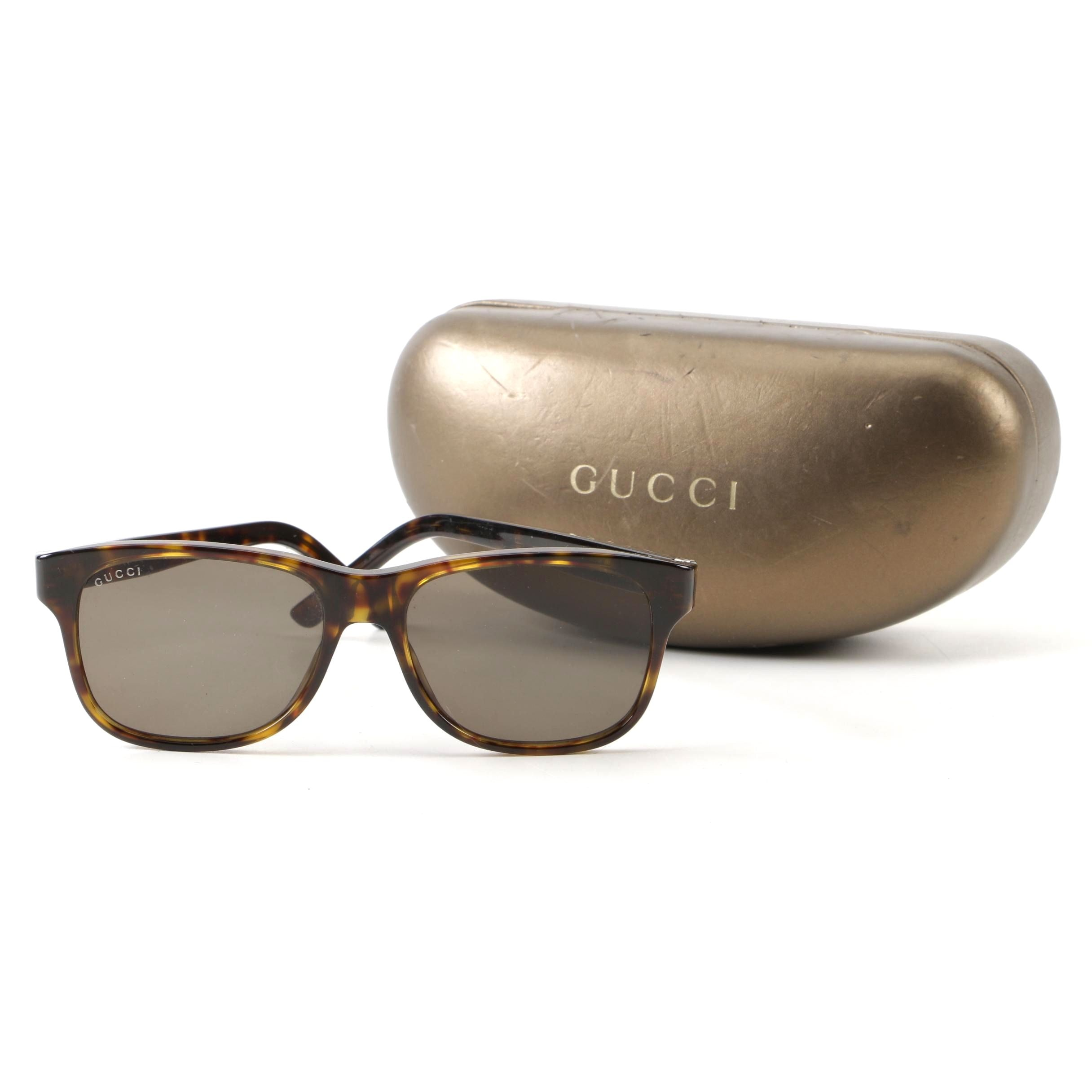 Gucci GG1612/S Tortoise Framed Sunglasses with Case, Made in Italy