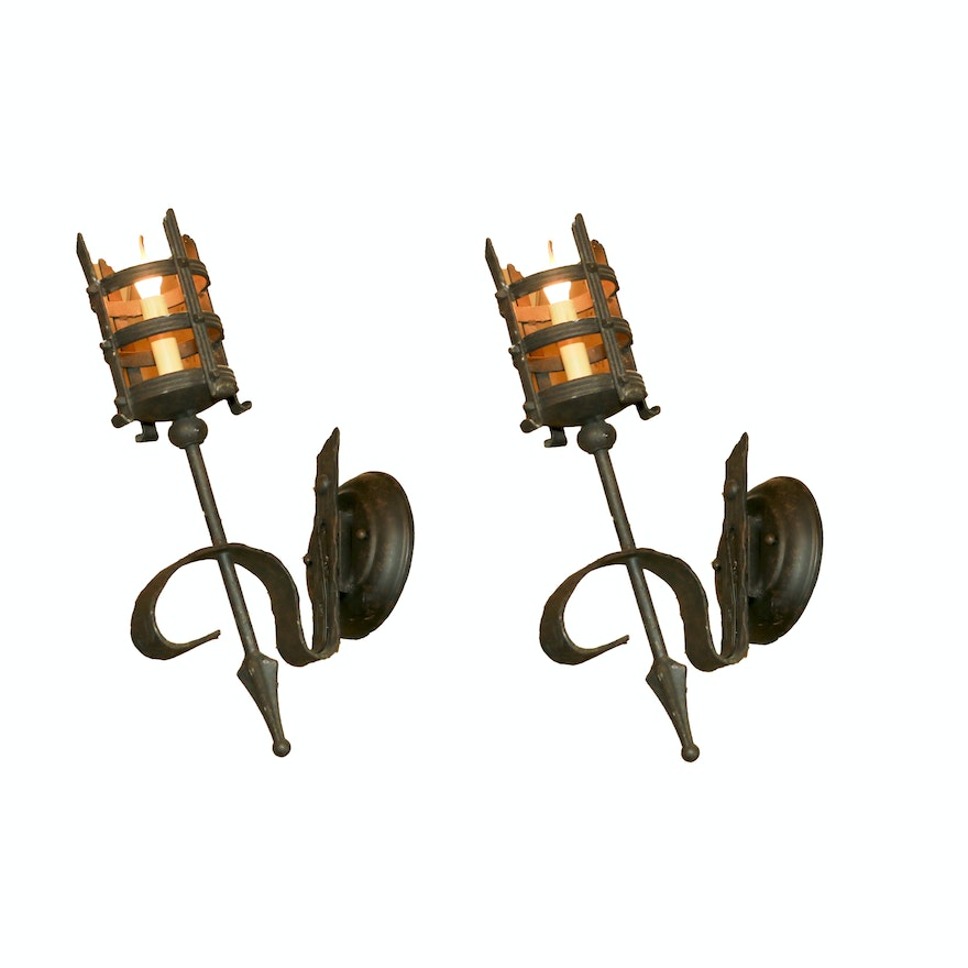 new style c276f 78ef2 Spanish Style Caged Metal Wall Sconces