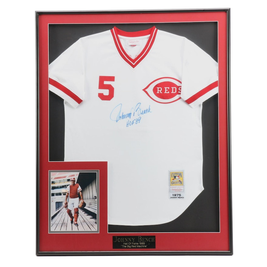 8e4ef2694c3 Framed (HOF) Johnny Bench Signed 1975 Replica Reds Home Jersey CEI COA ...