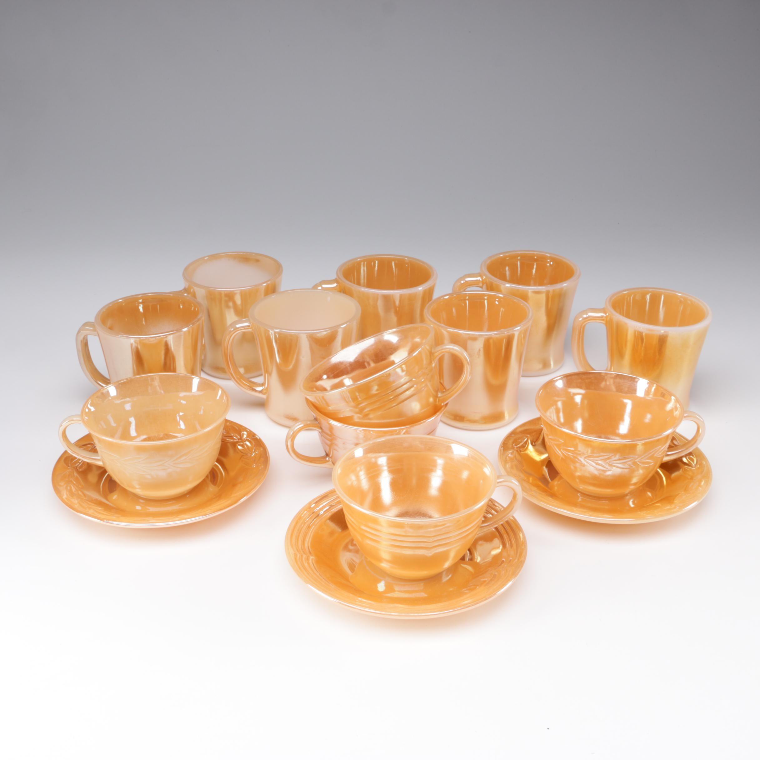 Fire-King Peach Lusterware Glass Teacups and Mugs, 1950s/1960s