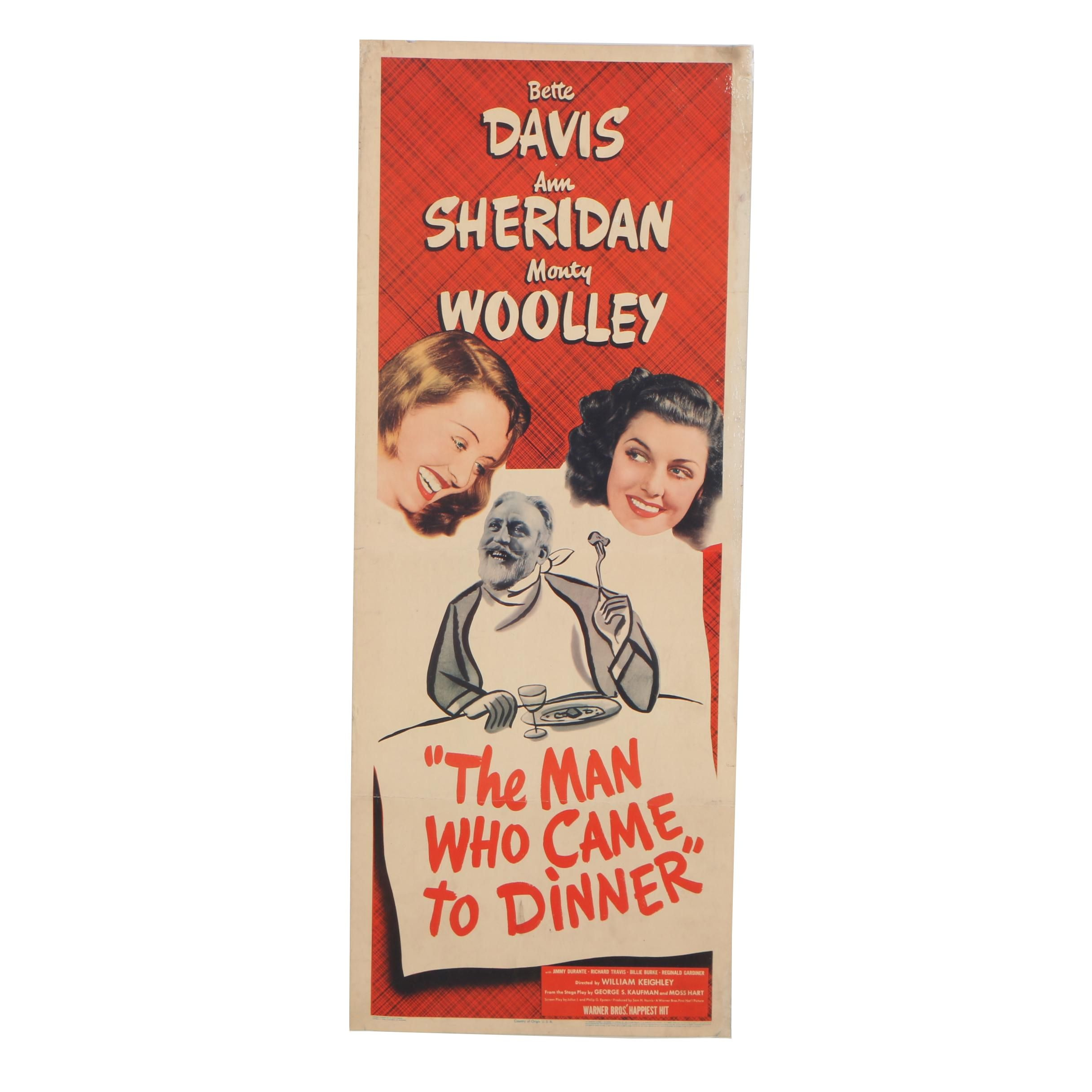 """""""The Man Who Came to Dinner"""" Theatrical Release Insert Poster, 1942"""