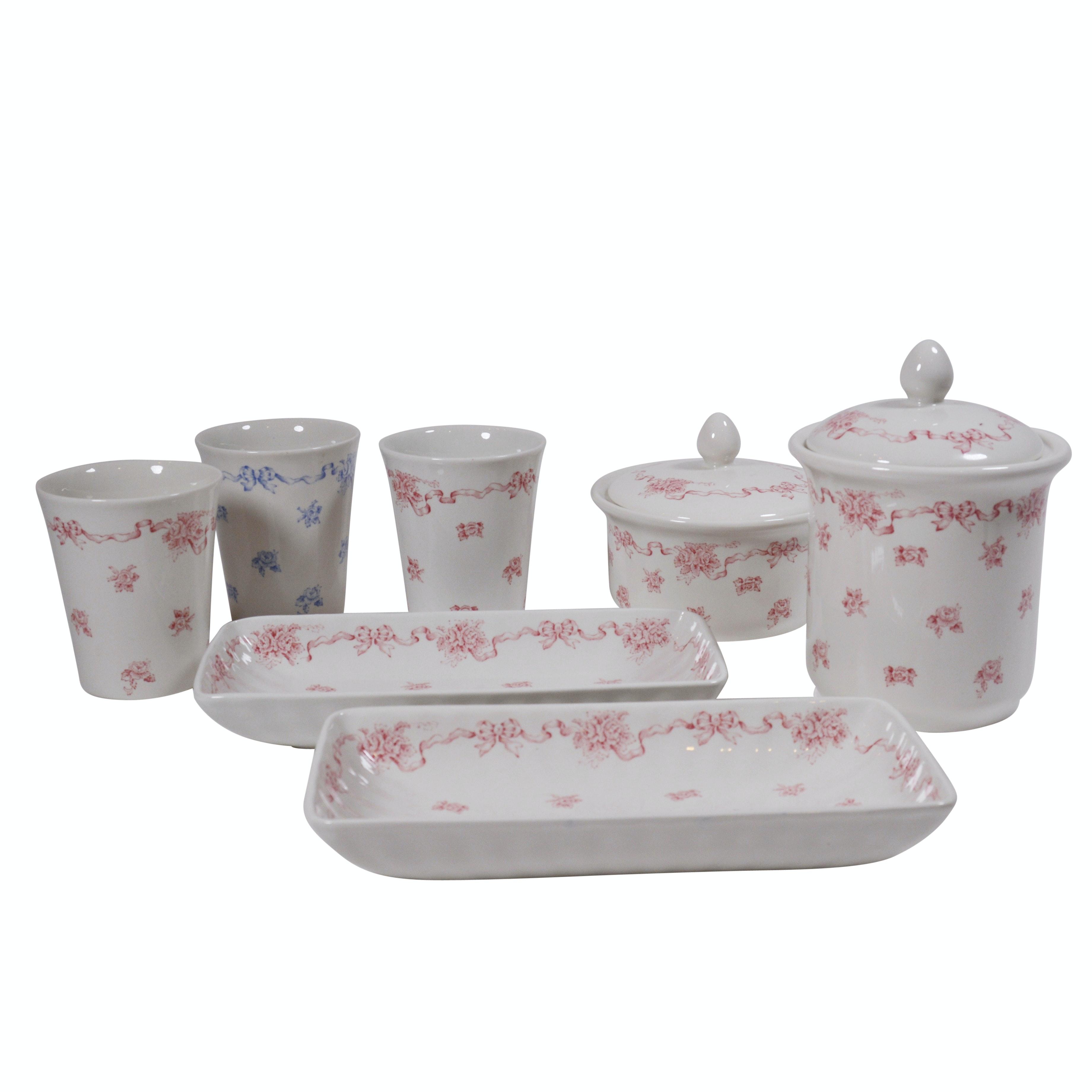 "Laura Ashley ""Ribbons"" Porcelain Vanity Set"