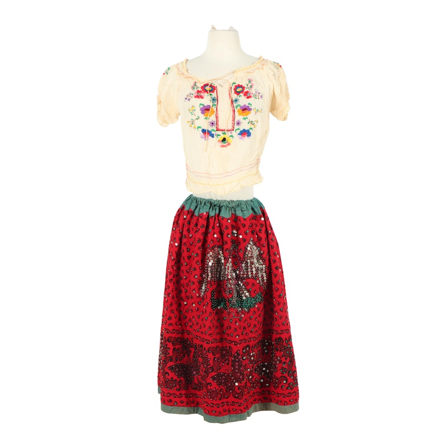 Women's Mexican Bead and Sequin Blouse, Embroidered Blouse and Embellished Skirt