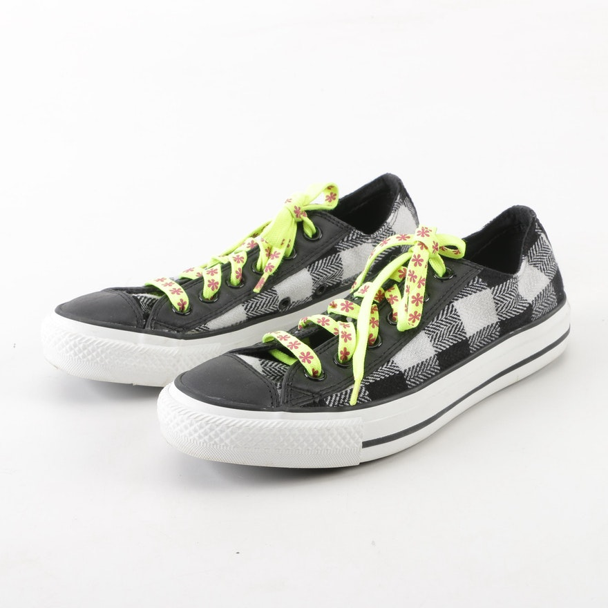 Converse Black and White Check Sneakers with Floral Laces   EBTH 9afce0c76