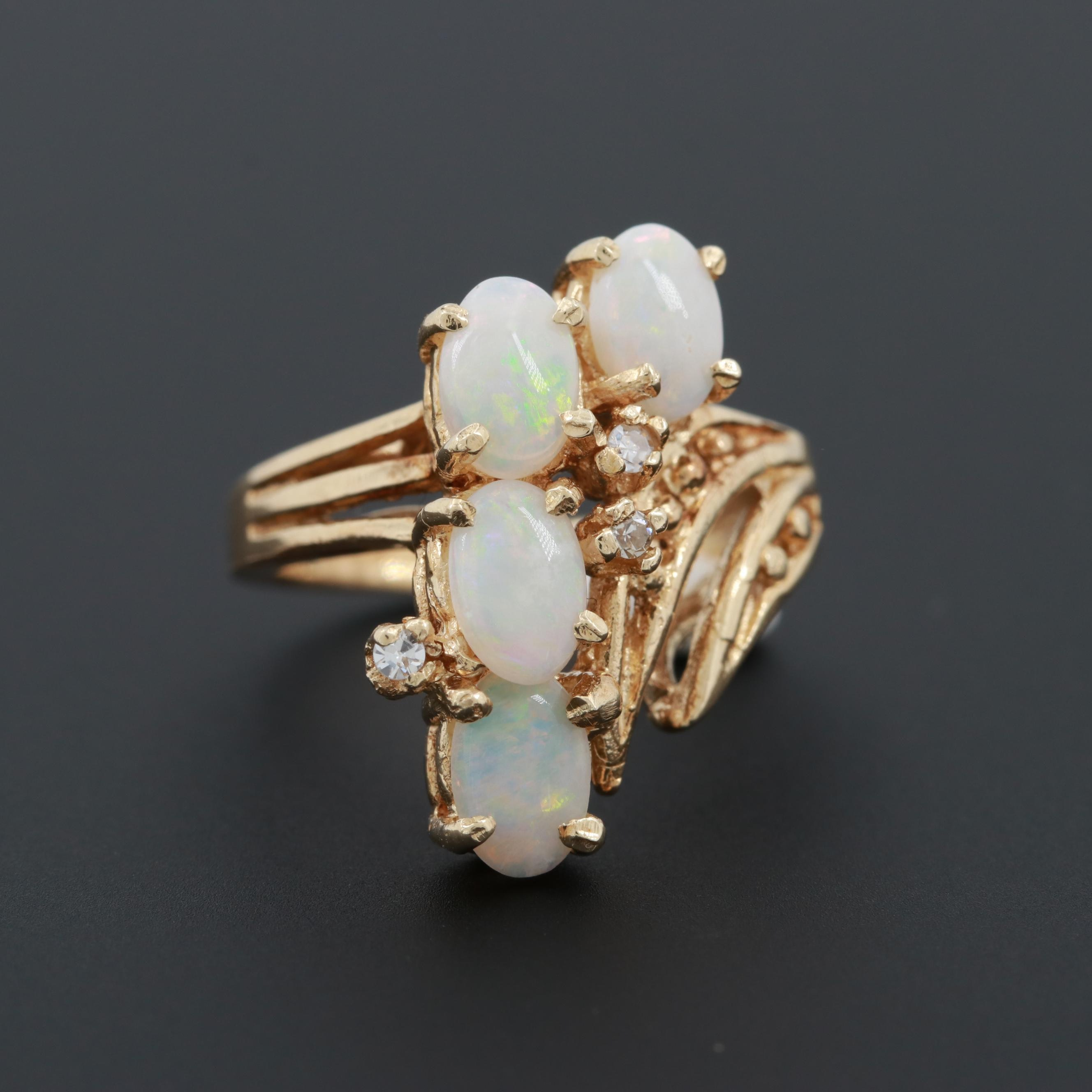 Vintage 14K Yellow Opal and Diamond Ring