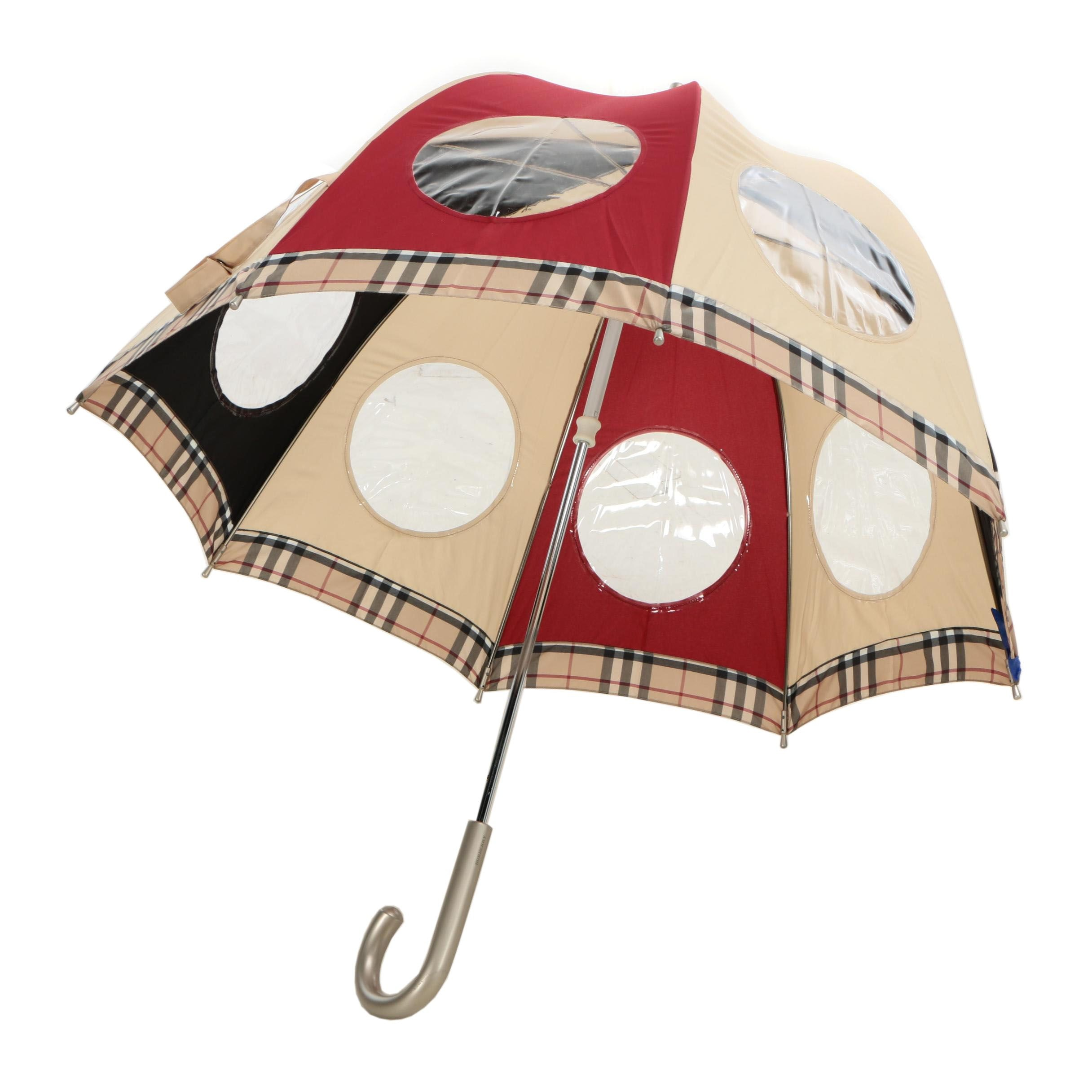 Burberry London Dome Umbrella with Vinyl Porthole Windows