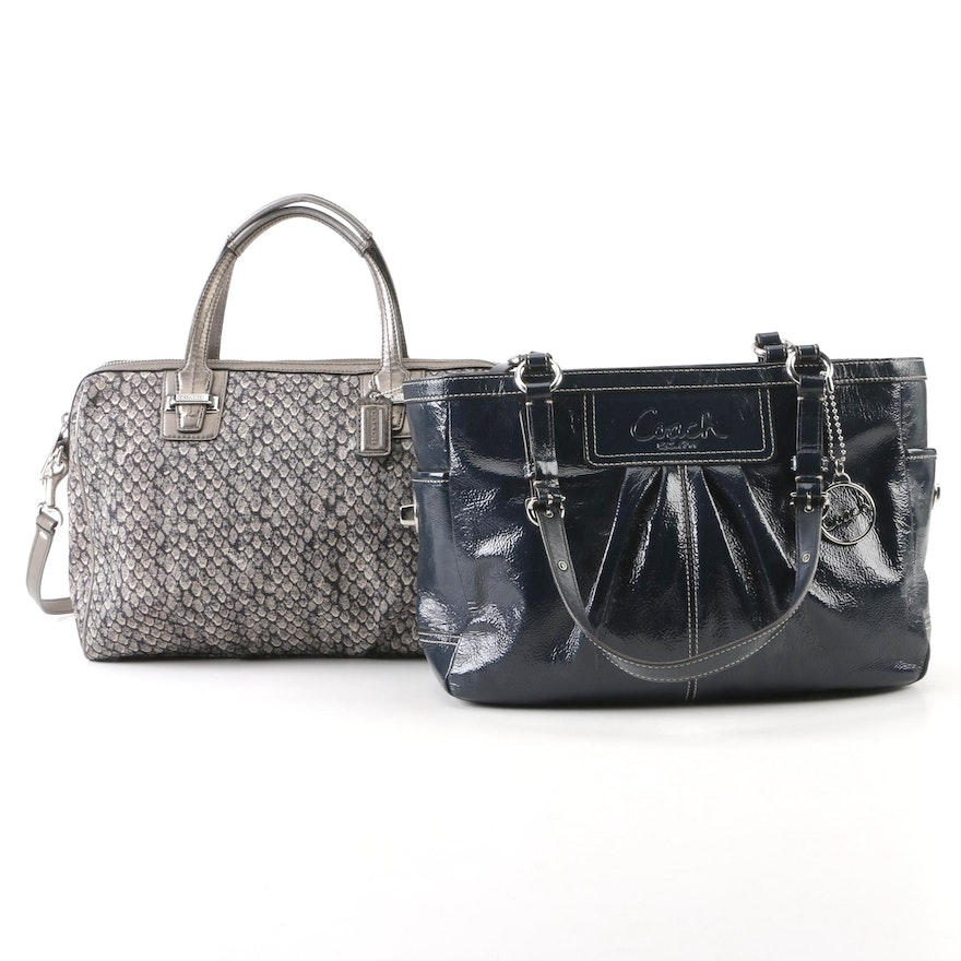 cf4450e78dd6 Coach Gallery Patent Leather Tote Bag and Coach Taylor Snake Print Satchel    EBTH