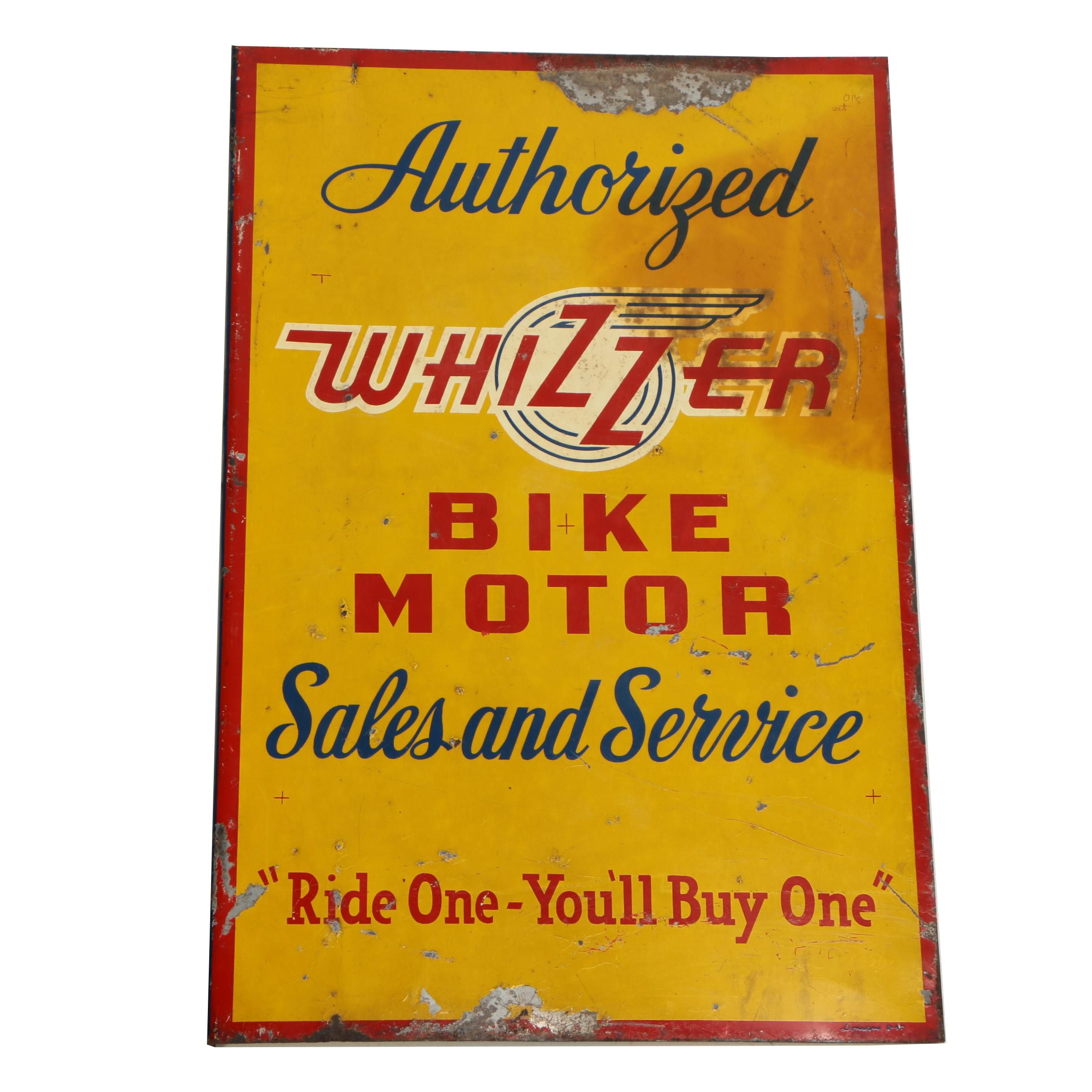 Whizzer Bike Motors Double Sided Enameled Metal Dealership Sign by Donases, 1947