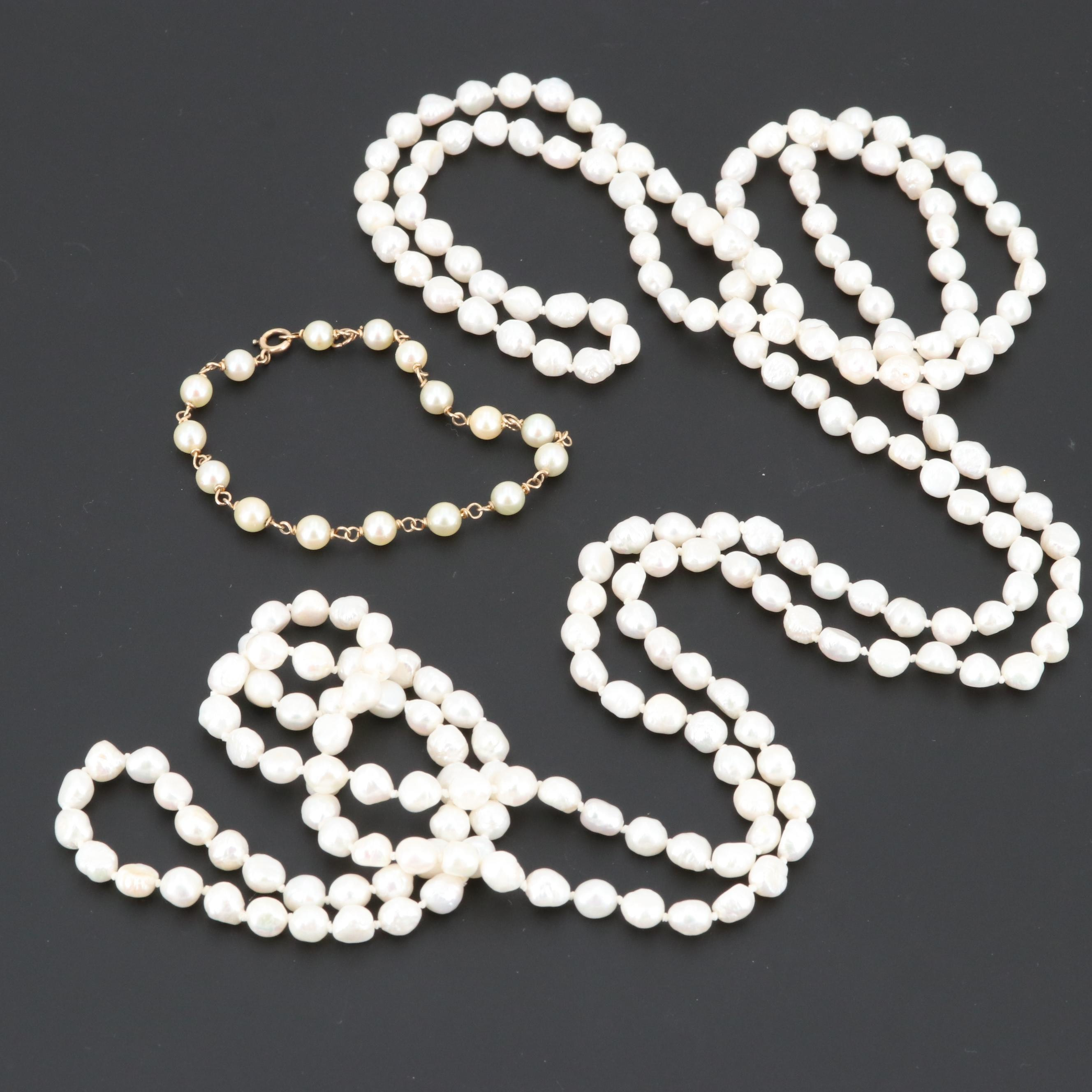 14K Yellow Gold Cultured Pearl Bracelet and Endless Strand Necklace