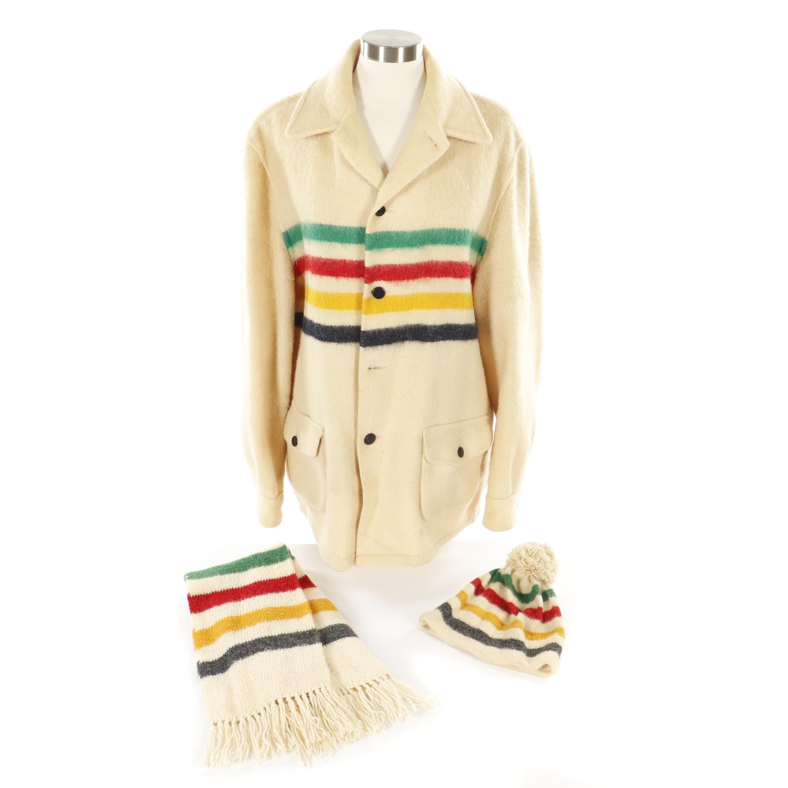 Hudson's Bay Company Point Blanket Jacket with Lands' End Beanie and Scarf